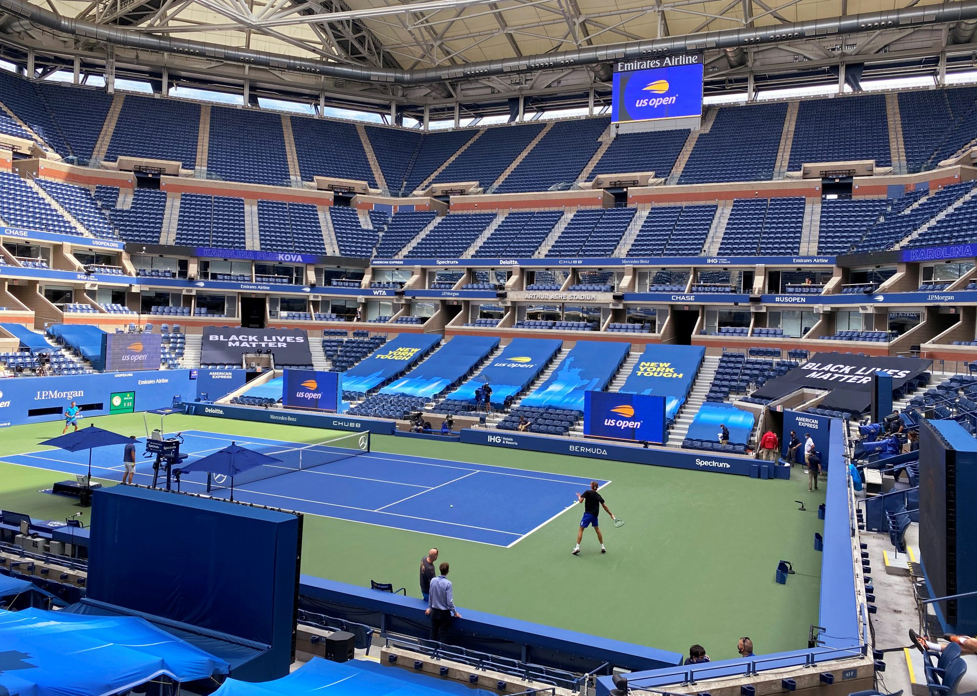 """Signage bearing the words """"Black Lives Matter"""" is seen inside Arthur Ashe Stadium on day one of the U.S. Open tennis tournament in the Queens borough of New York City, U.S., August 31, 2020. REUTERS/Amy Tennery"""