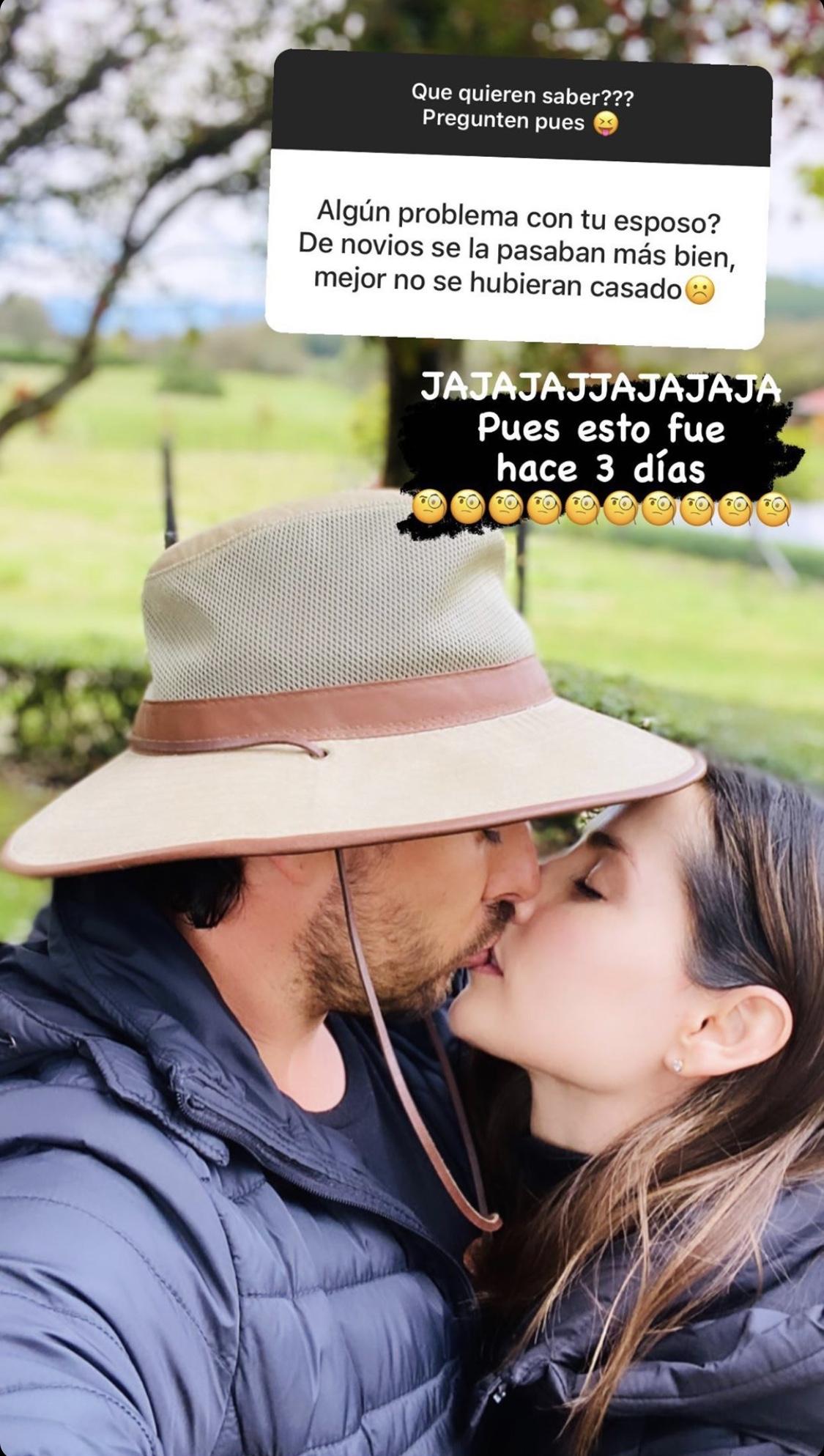 Carmen Vilalobos esposo Sebastian Caicedo responde fan cuestiona su amor