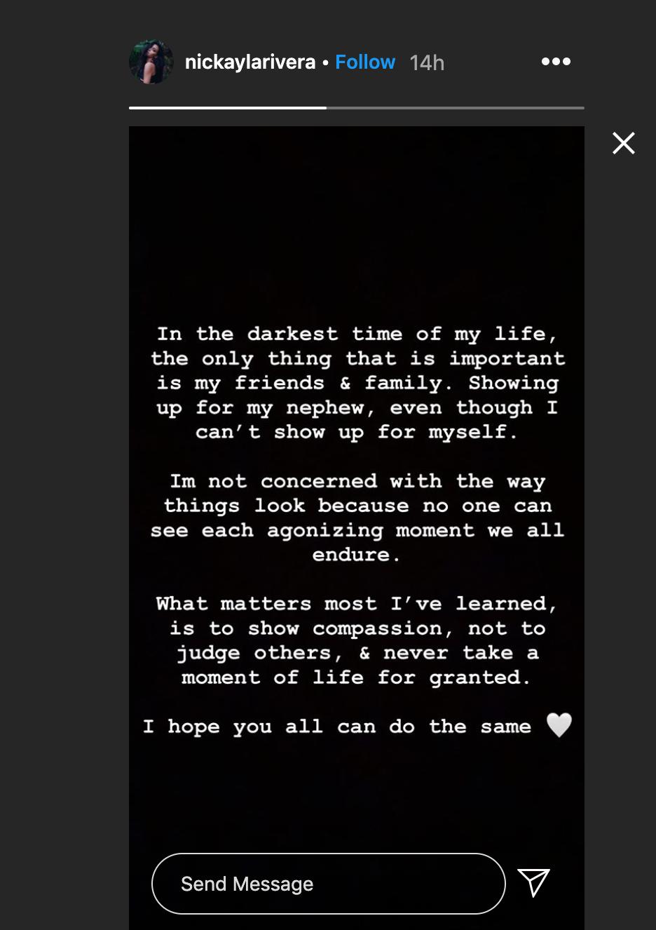 Nickayla Rivera, mensaje, Instagram