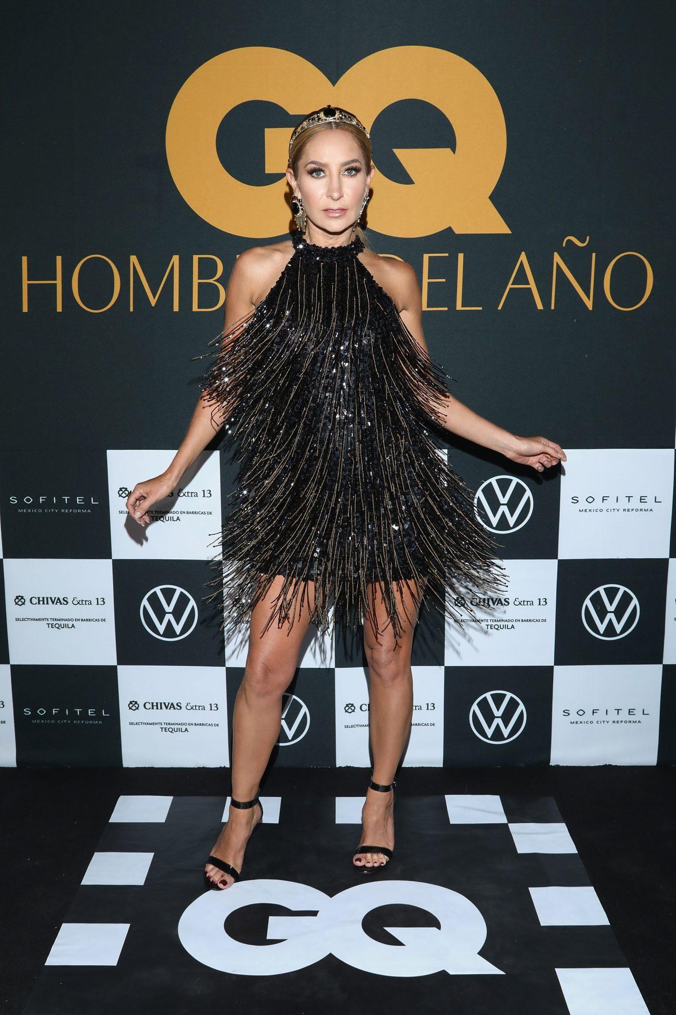 Geraldine Bazán vestido brillos