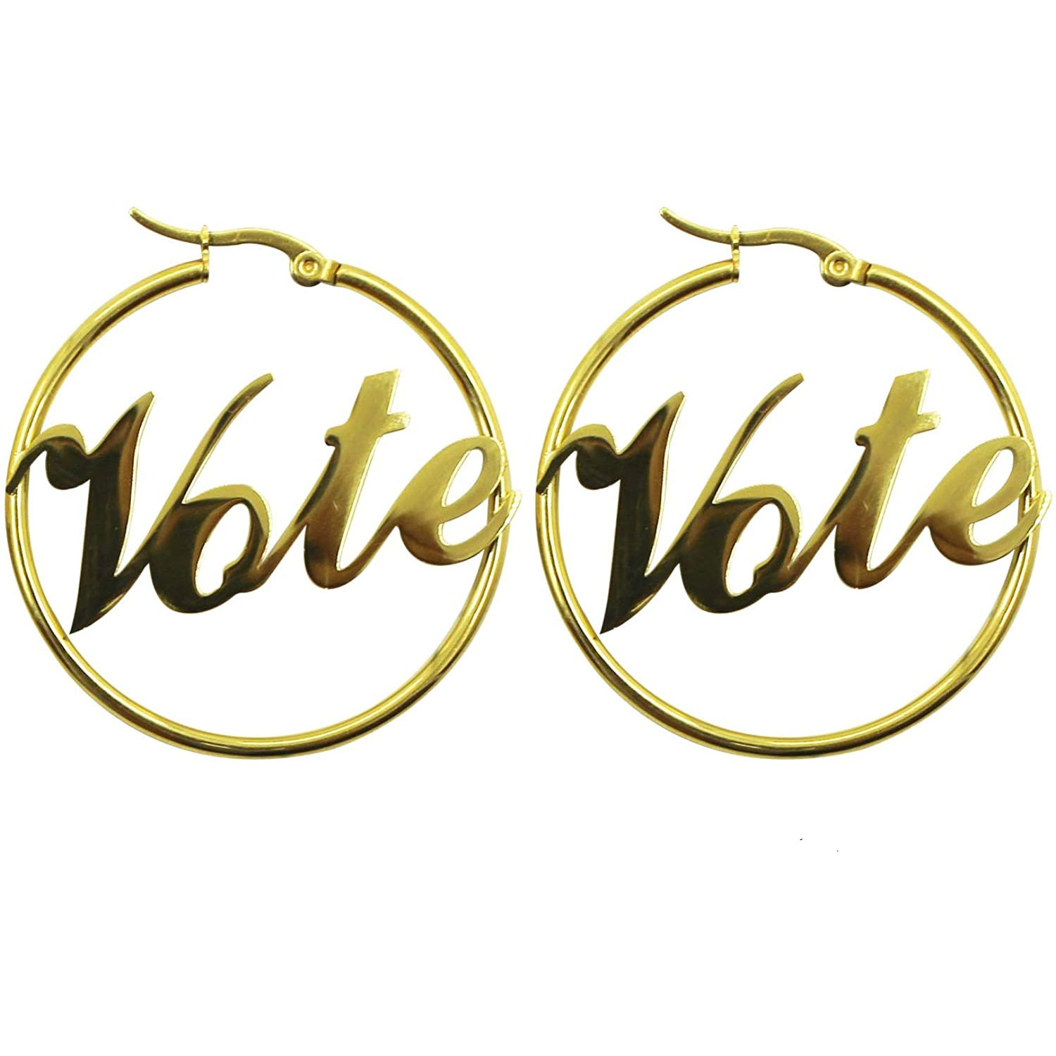 vote earrings hoops stainless steel hypoallergenic