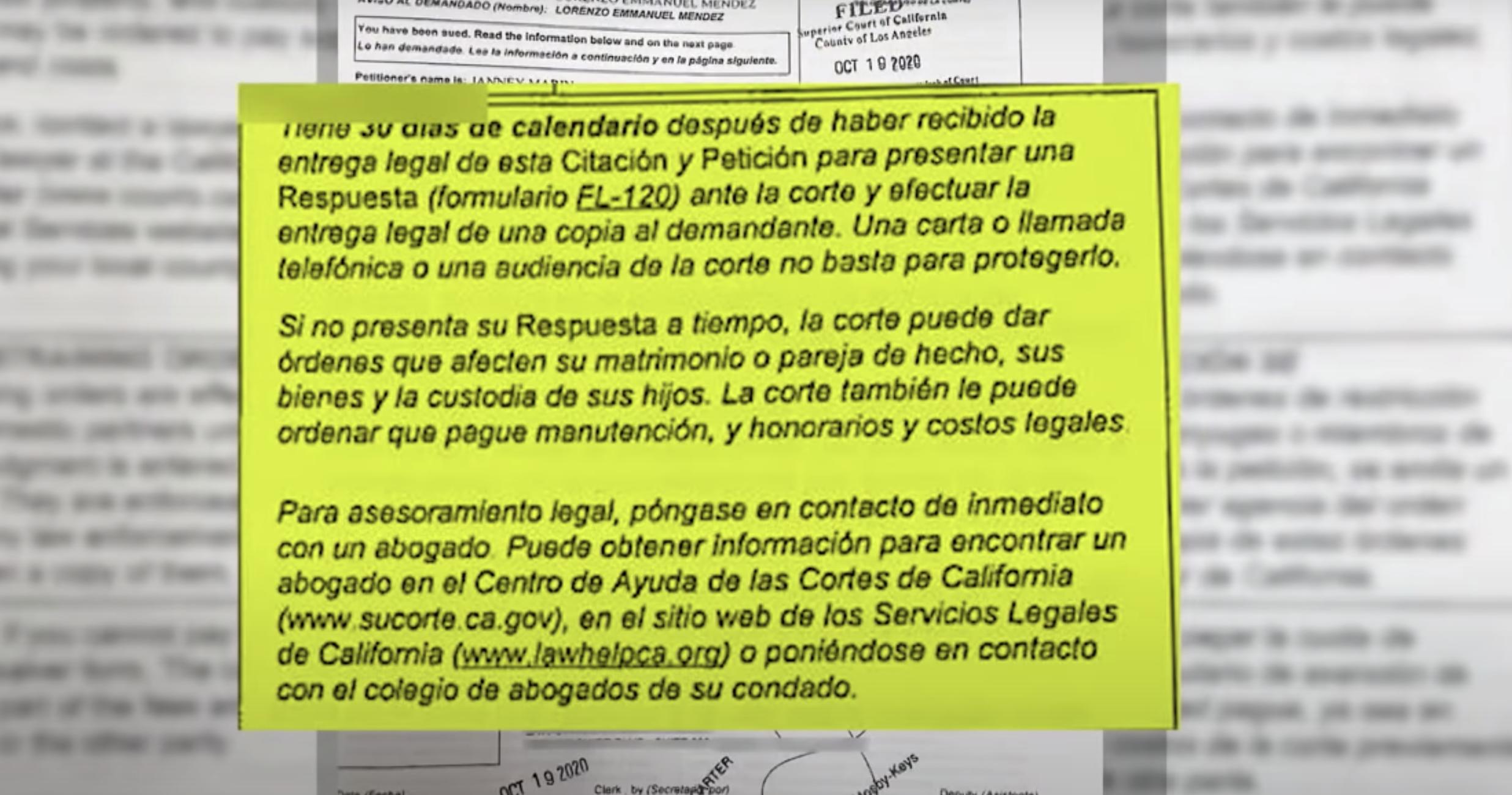 Documentos divorcio de Chiquis Rivera y Lorenzo Méndez