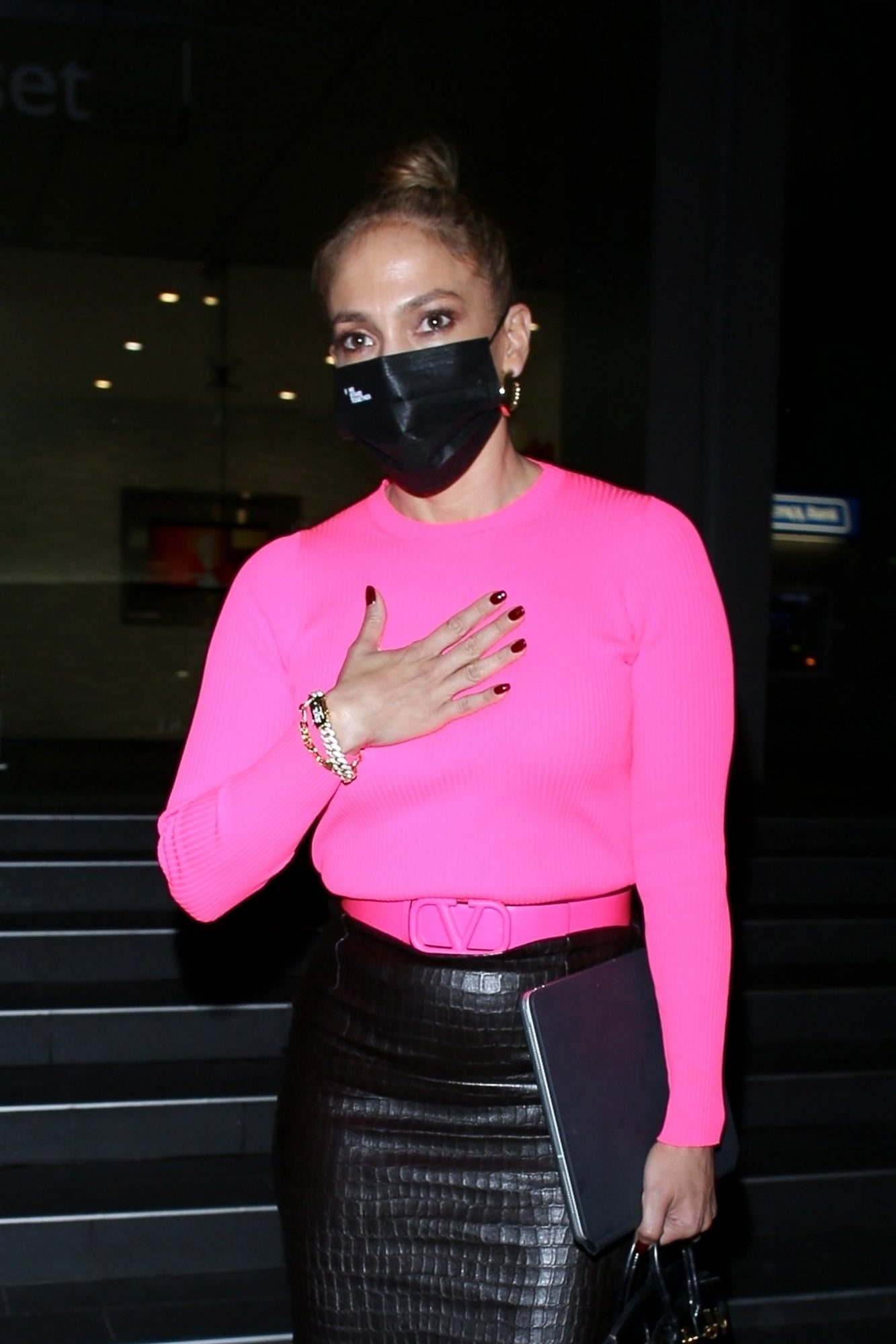 Jennifer Lopez looks classy in pink while leaving a business meeting in West Hollywood