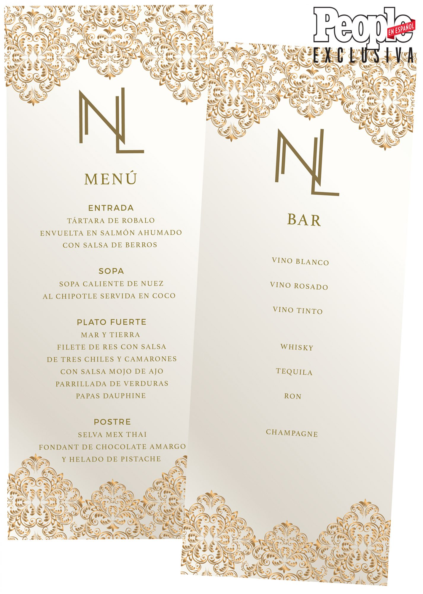 Menu - Boda Ninel Conde y Larry Ramos - DO NOT REUSE