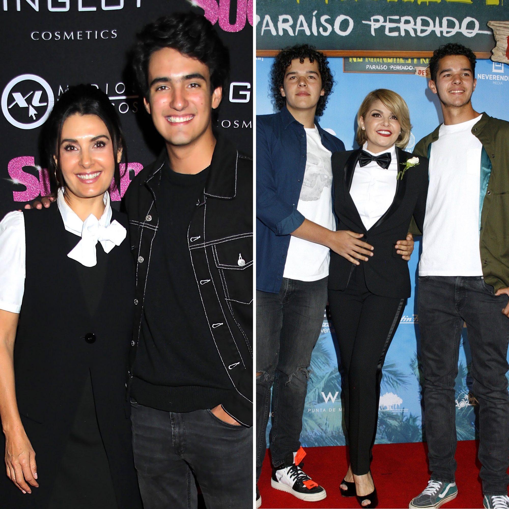 Mayrín Villanueva y su hijo Sebastián Poza; Itatí Cantoral y sus gemelos Roberto y Eduardo