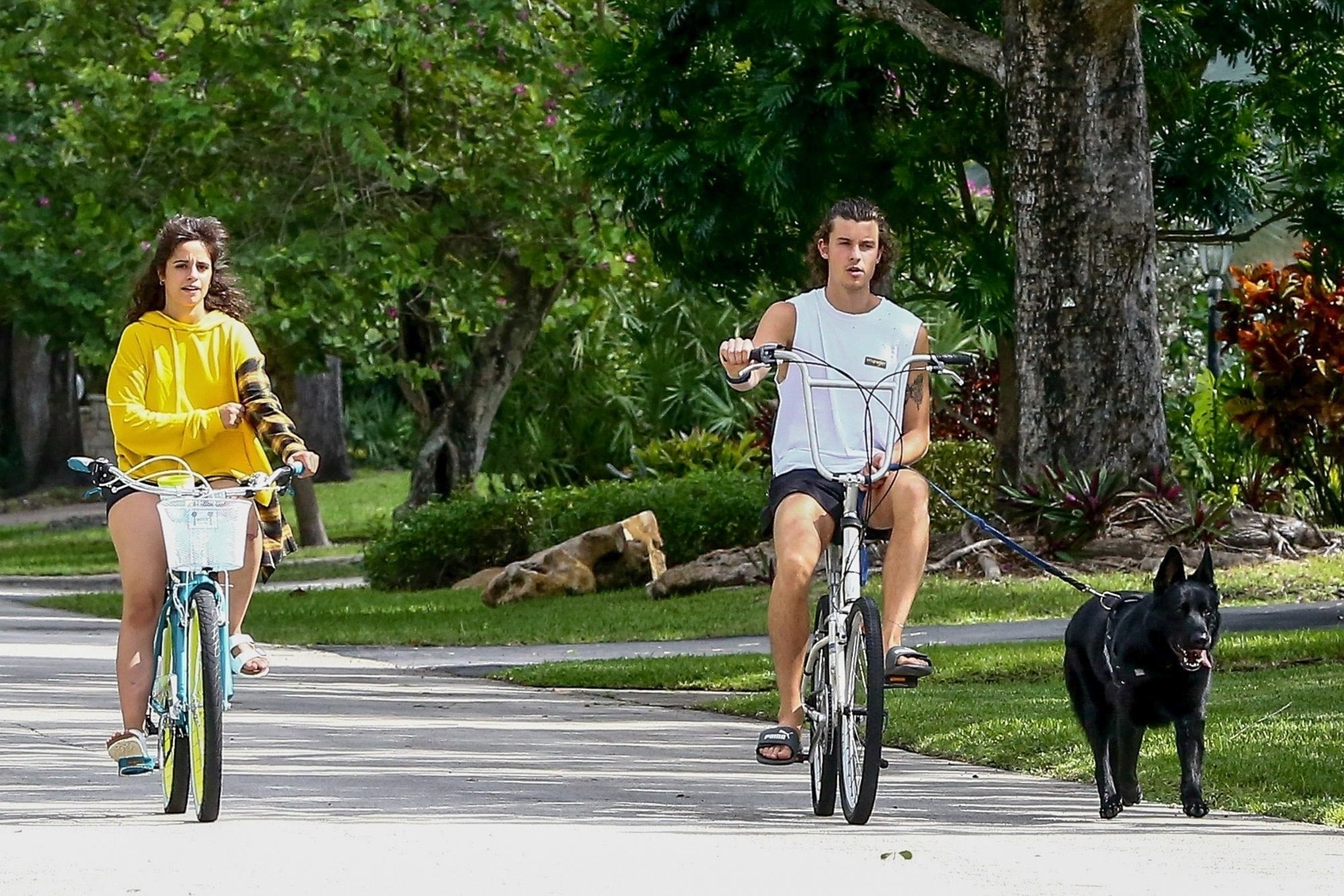 Camila Cabello Goes for a Bike Ride with Shawn Mendes and Dog in Miami