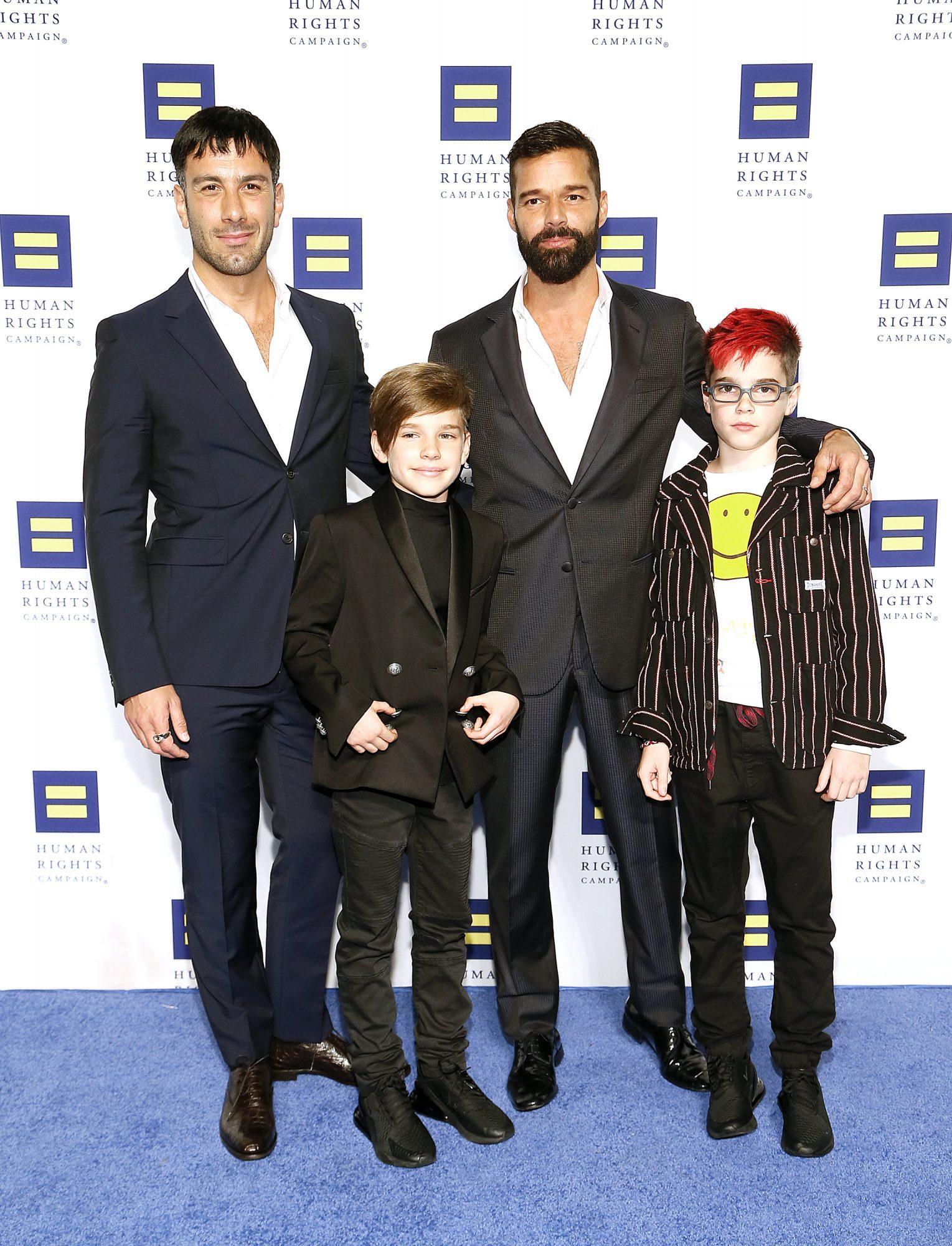 Jwan Yosef, Ricky Martin, Matteo Martin and Valentino Martin