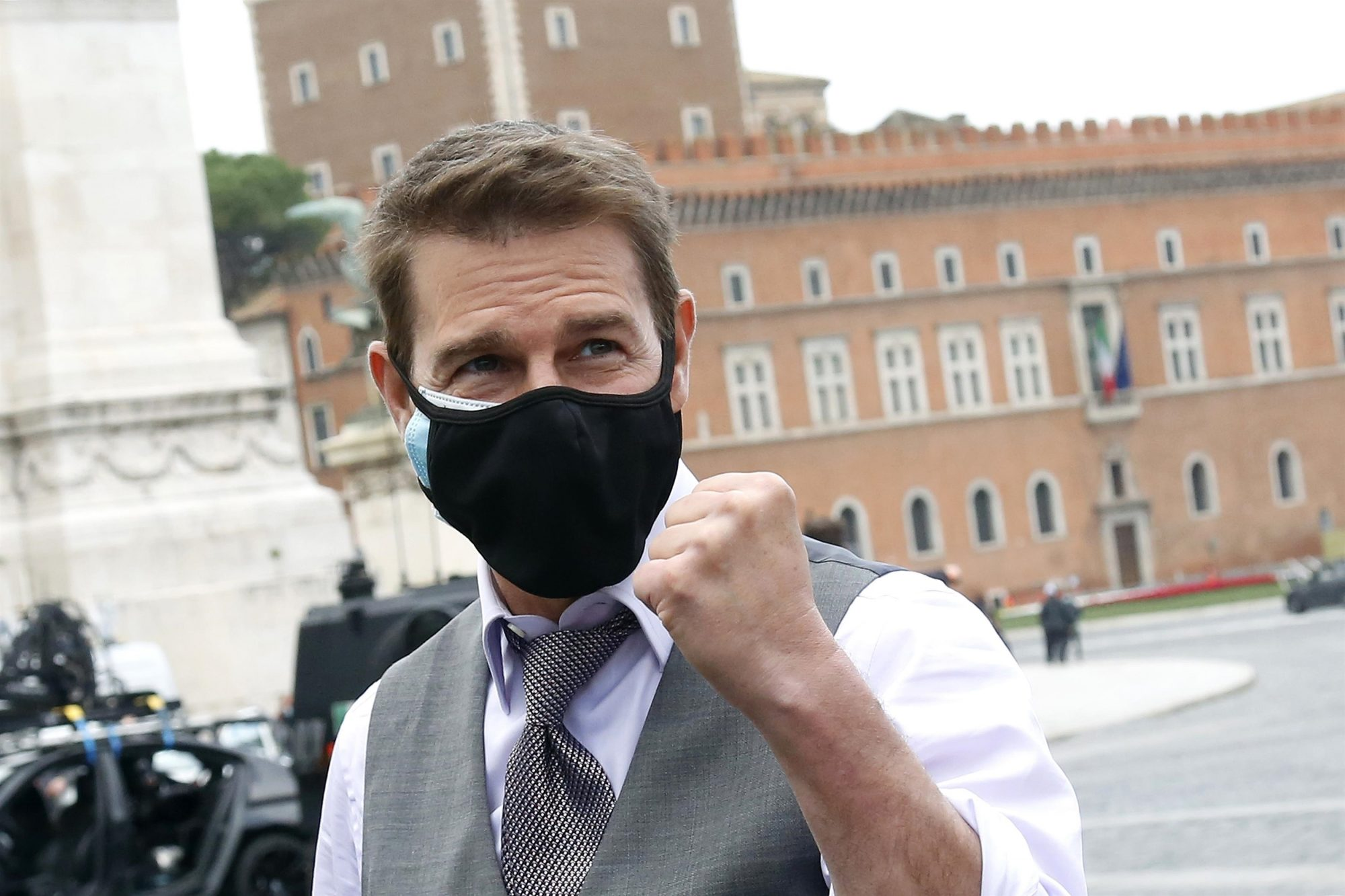 Tom Cruise Wears Two Masks to Greet Fans that are Watching Him Film Scenes in Rome