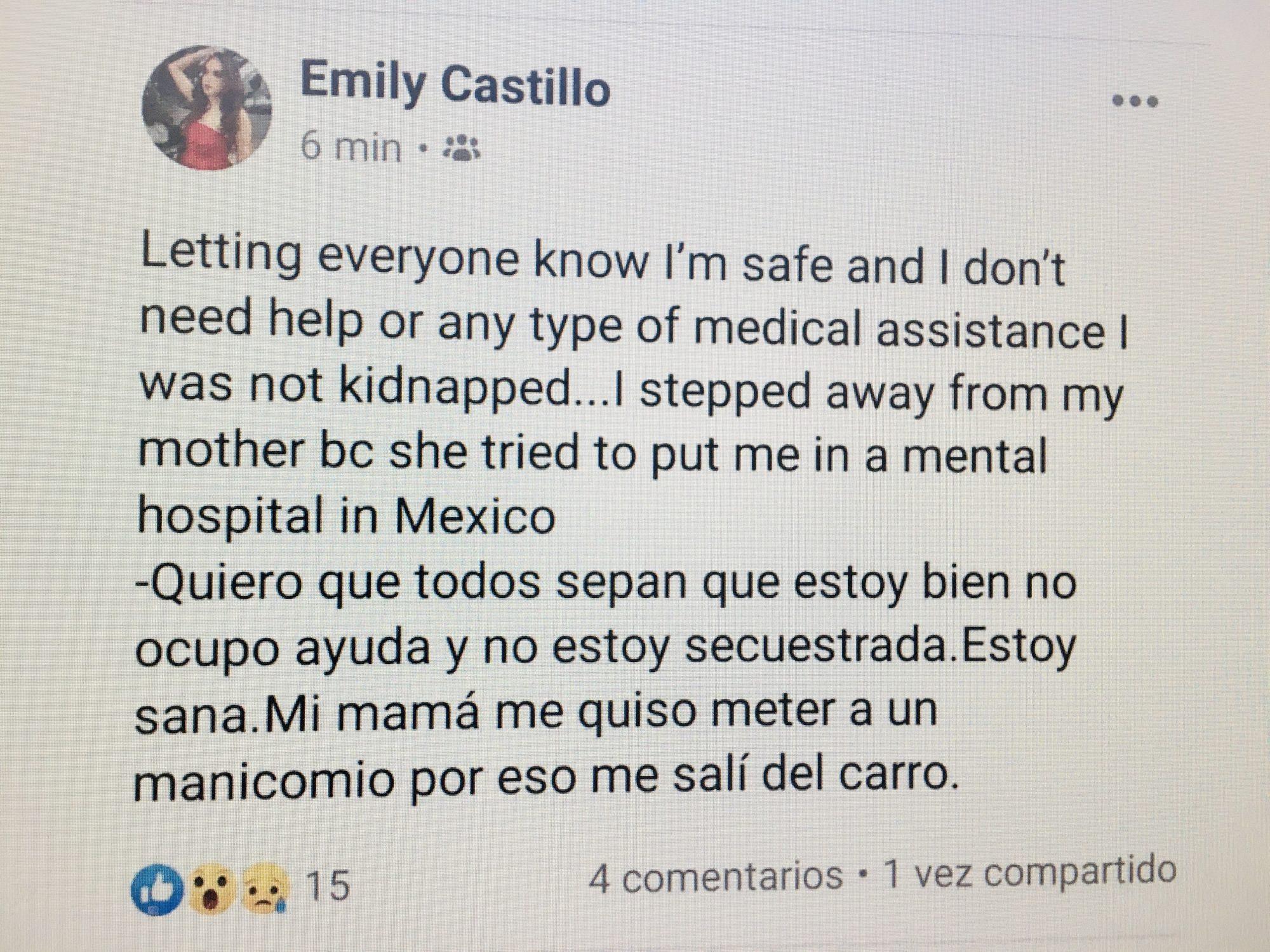 Emily Castillo Facebook mensaje