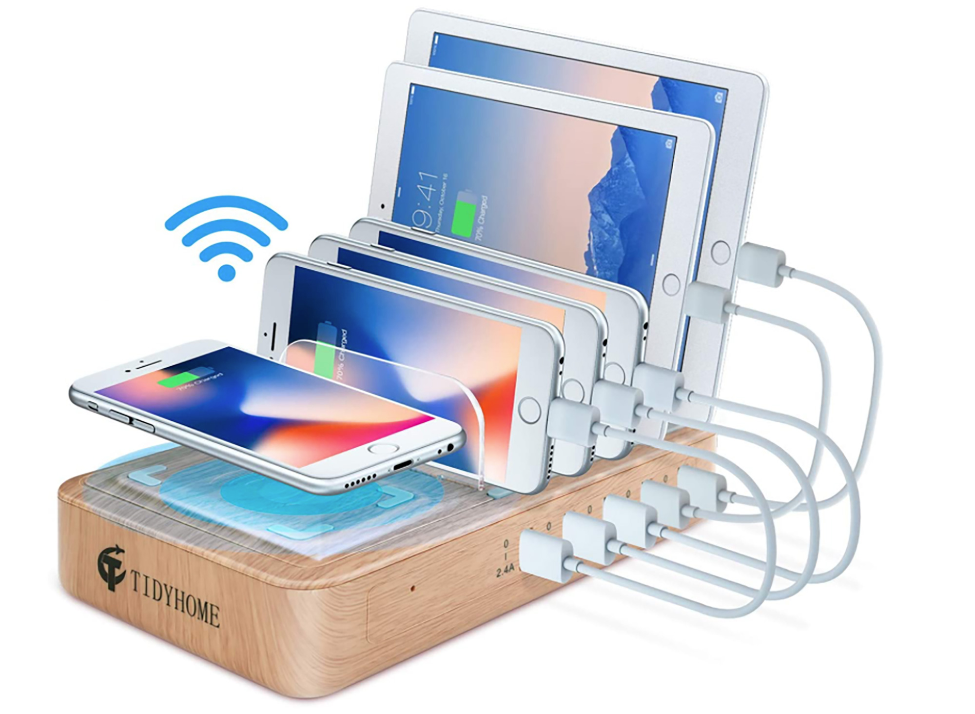 En cada familia siempre existe alguien amante de los dispositivos digitales. Esta es la solución perfecta para que puedan cargar todos sus juguetes tecnológicos en el mismo lugar, ya que la estación permite tener hasta seis dispositivos conectados al mismo tiempo. ¡Nada mal!