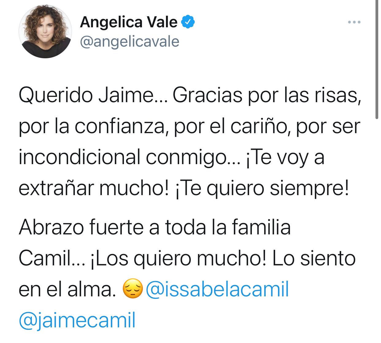 Angelica Vale pésame Camil