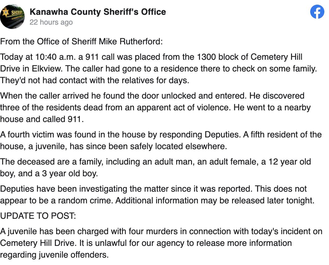 Reporte Oficina del Sheriff del condado de Kanawha