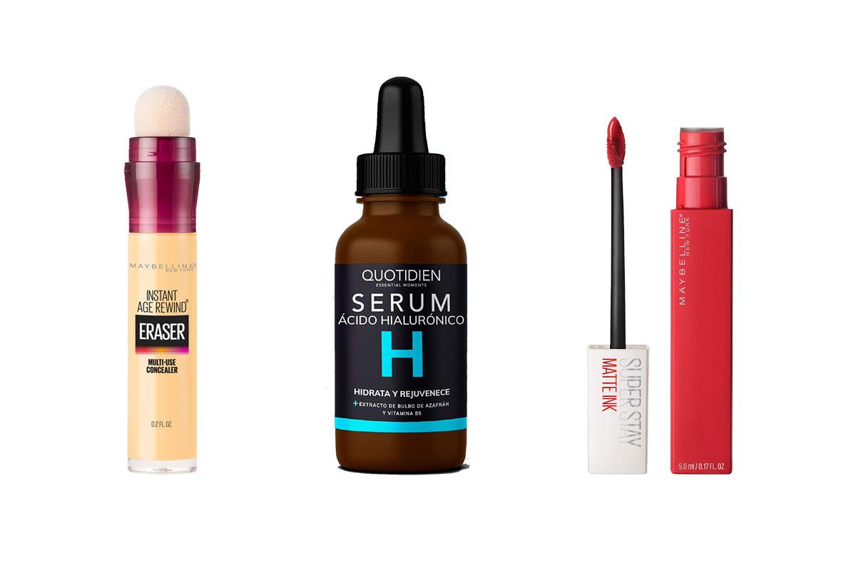 maybelline lipstick, eraser, and serum