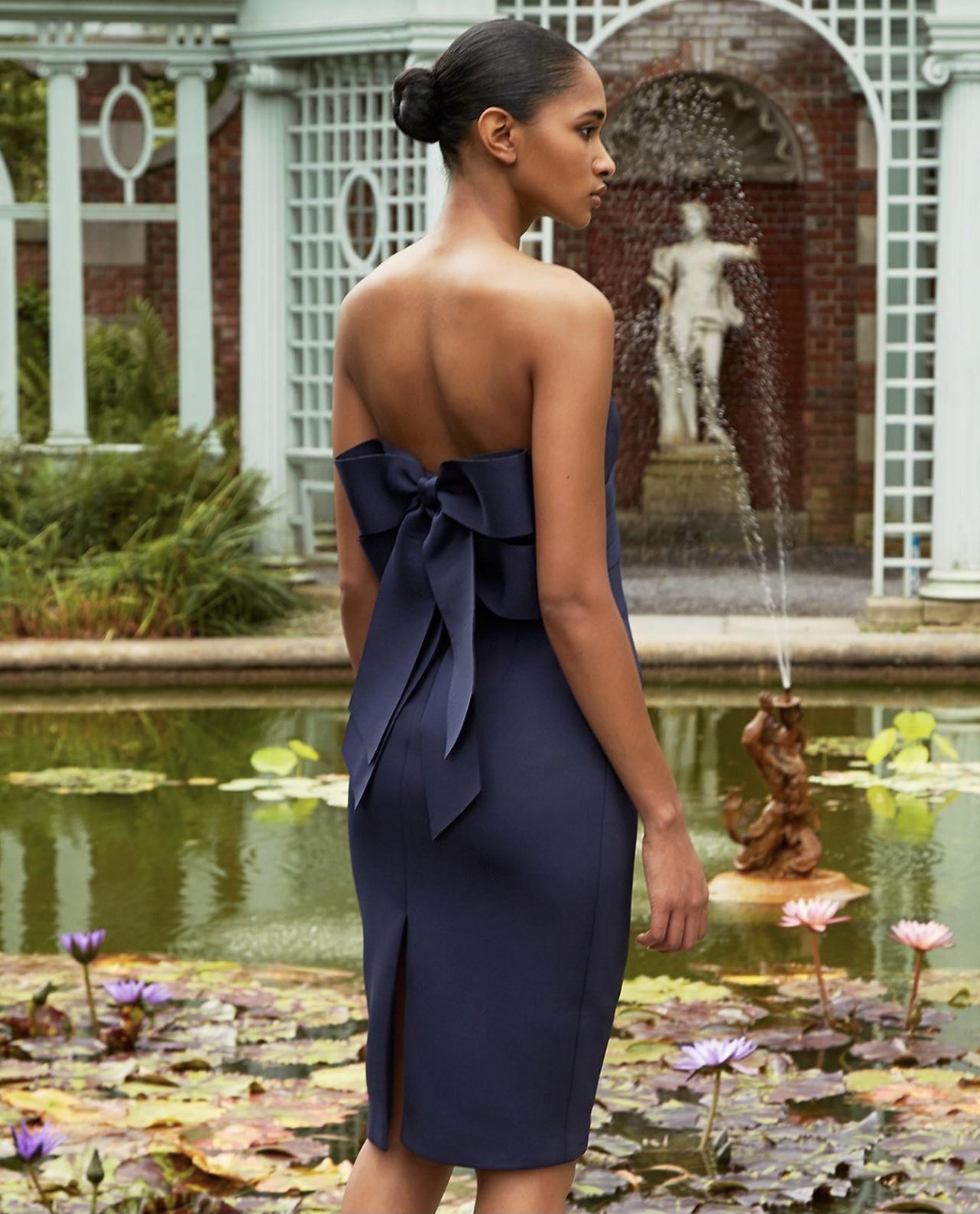 updo blue dress