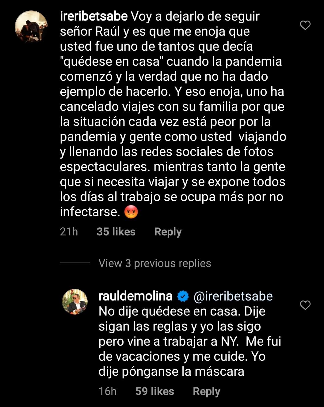 Críticas a Raúl de Molina