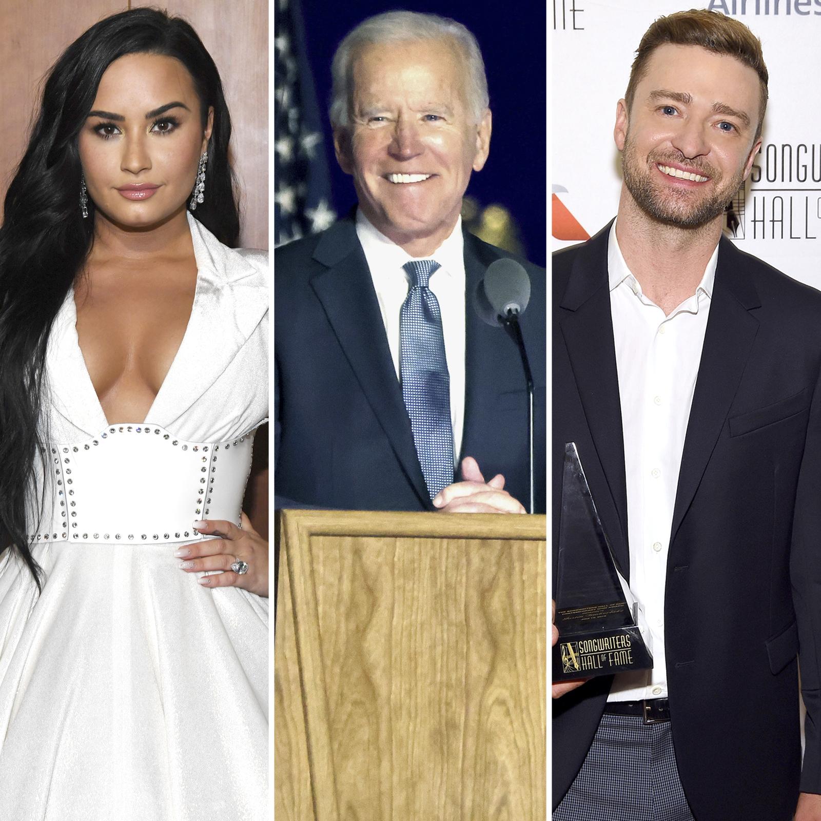 Demi Lovato, Joe Biden, Justin Timberlake