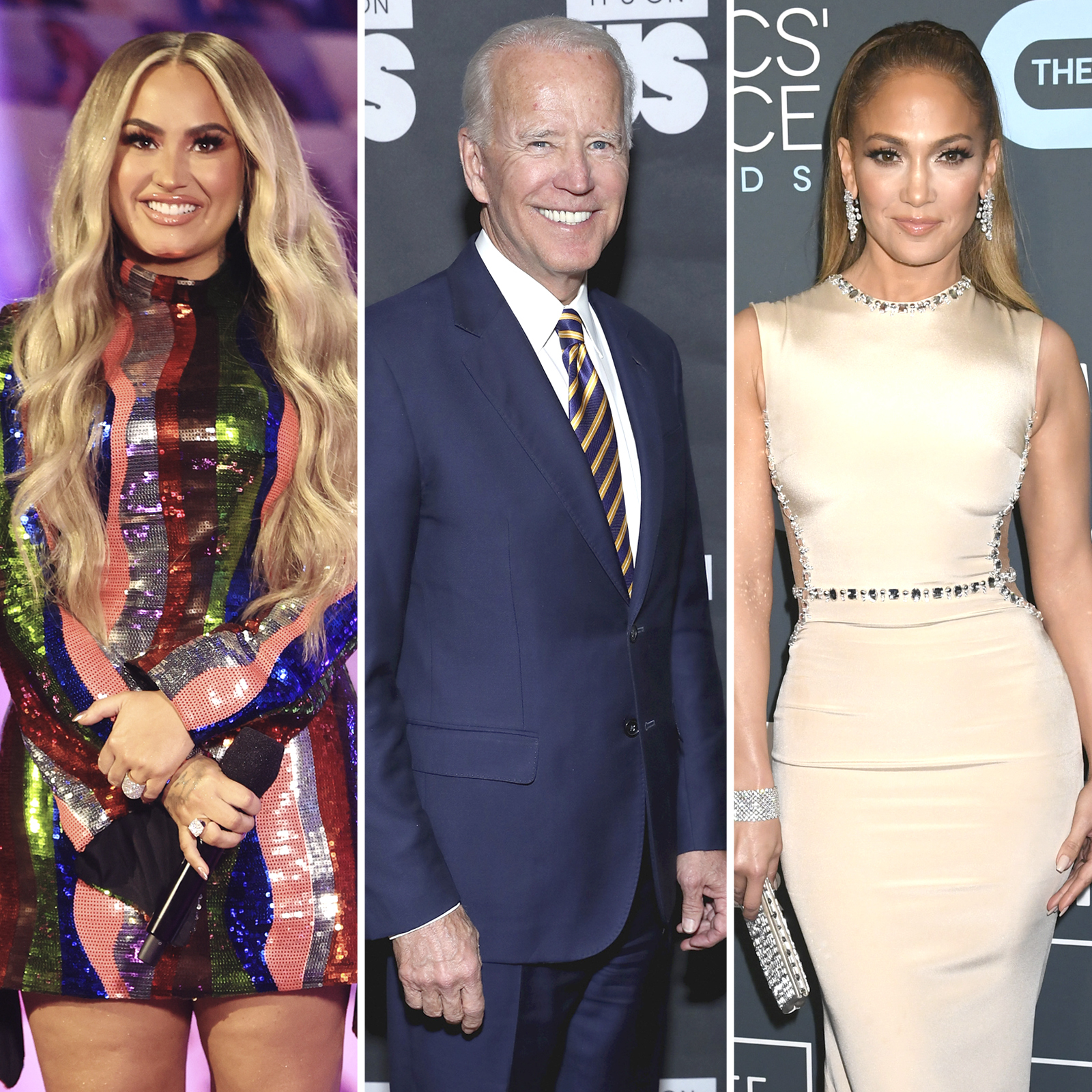 Demi Lovato, Joe Biden and Jennifer Lopez