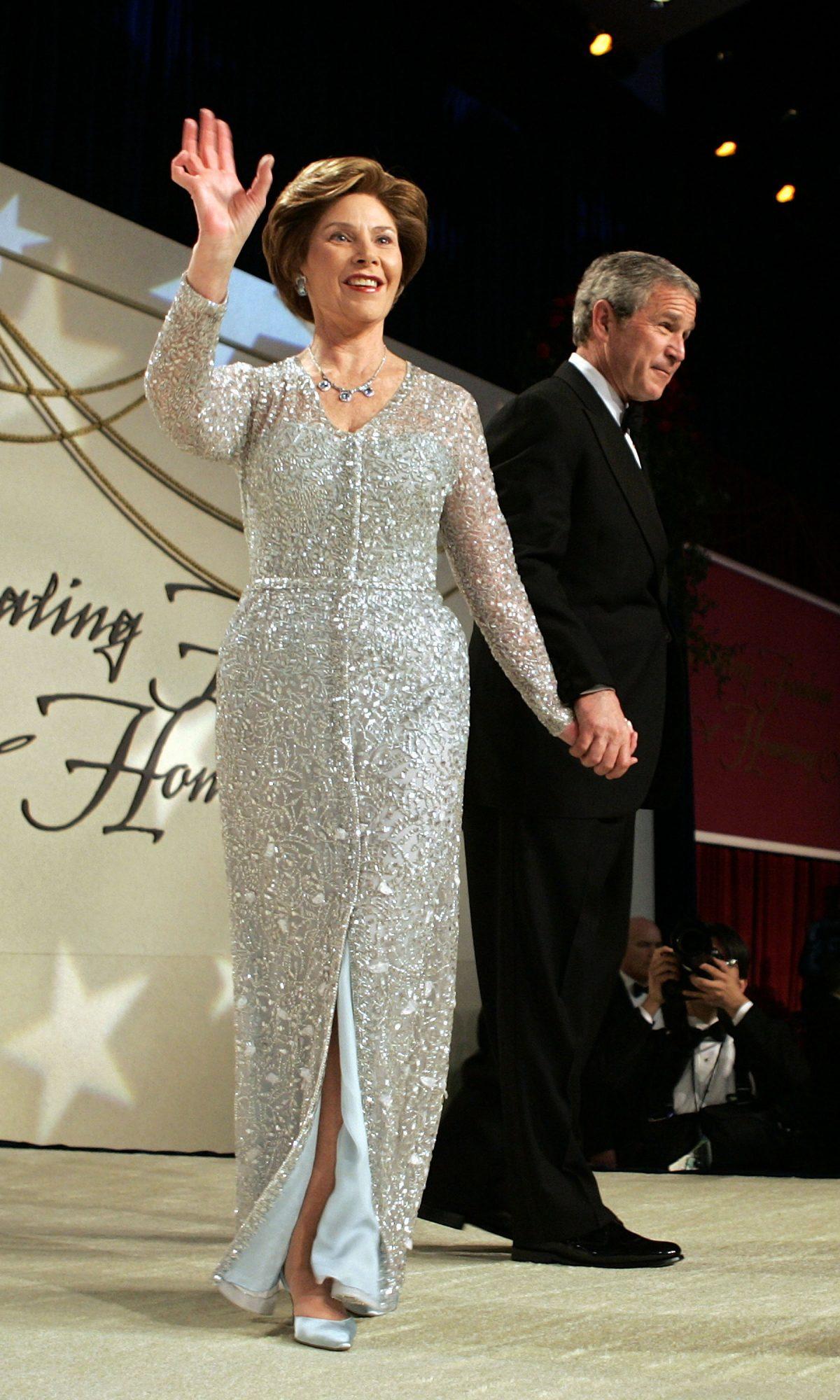 Laura Bush vestido oscar de la renta