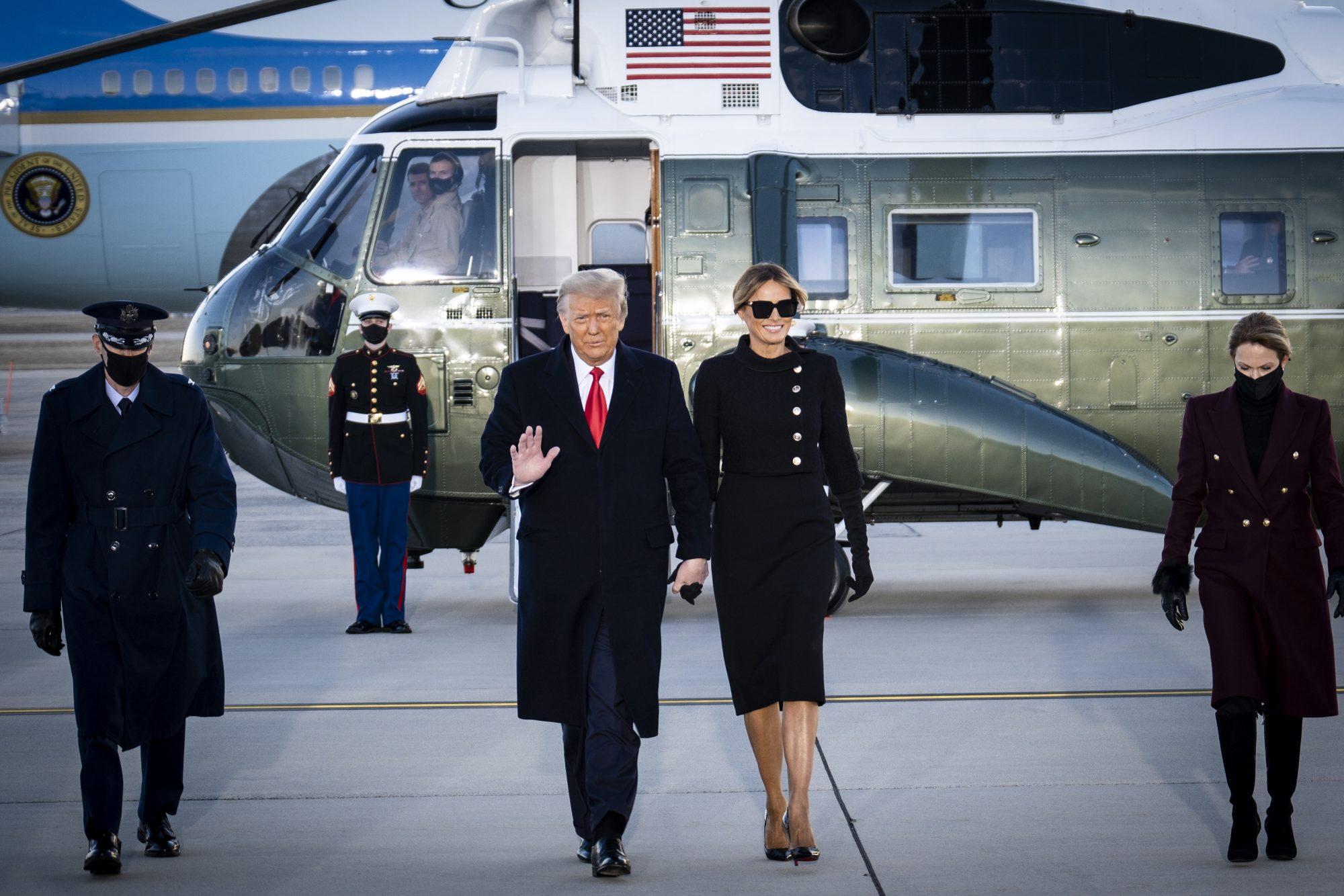Donald Trump Melania Trump ultimo dia en la Casa Blanca