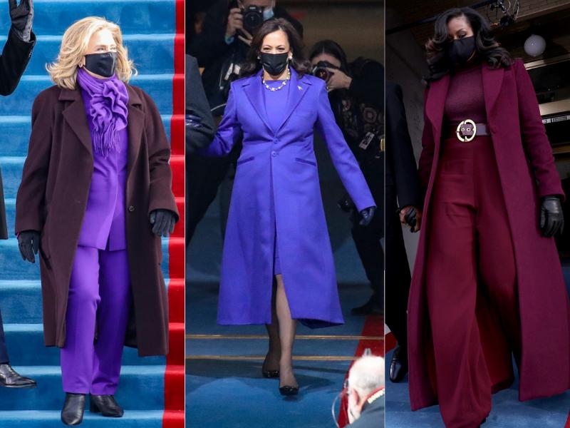 Kamala Harris, Hillary Clinton, Michelle Obama inauguración presidencial morado