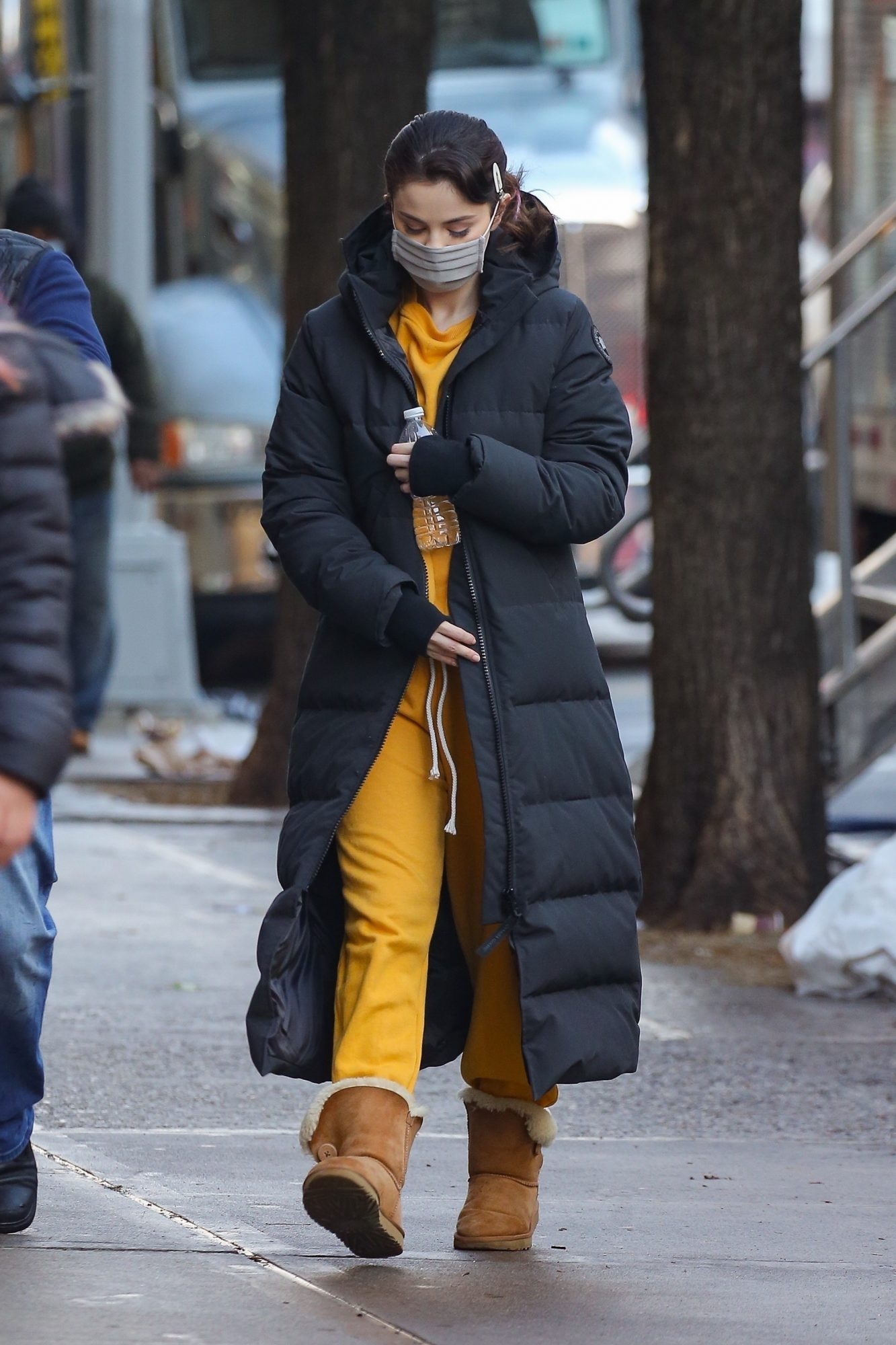 Selena Gomez looks stylish in a yellow outfit and a Canada Goose long coat on the set of 'Only Murders in the Building' in New York