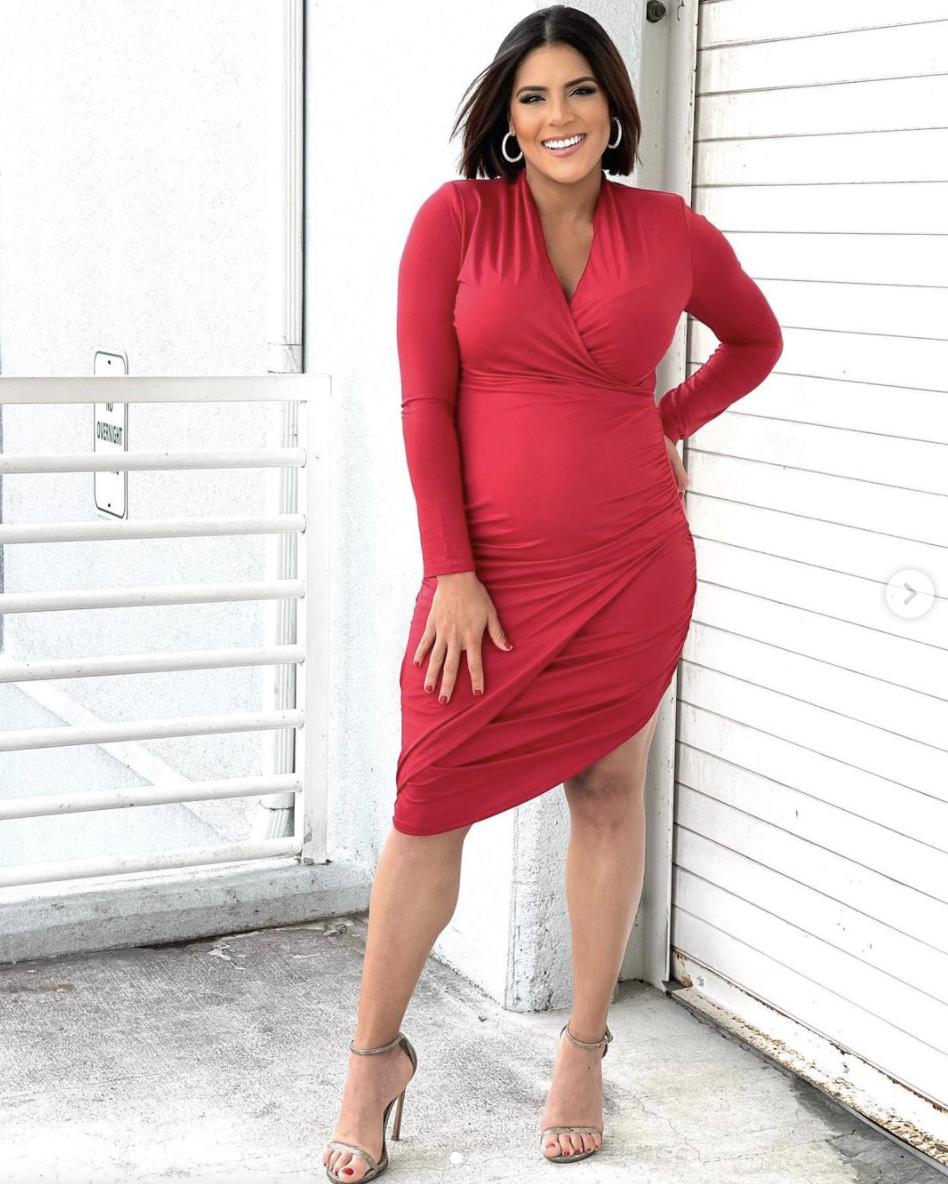 francisca lachapel vestido rojo embarazada