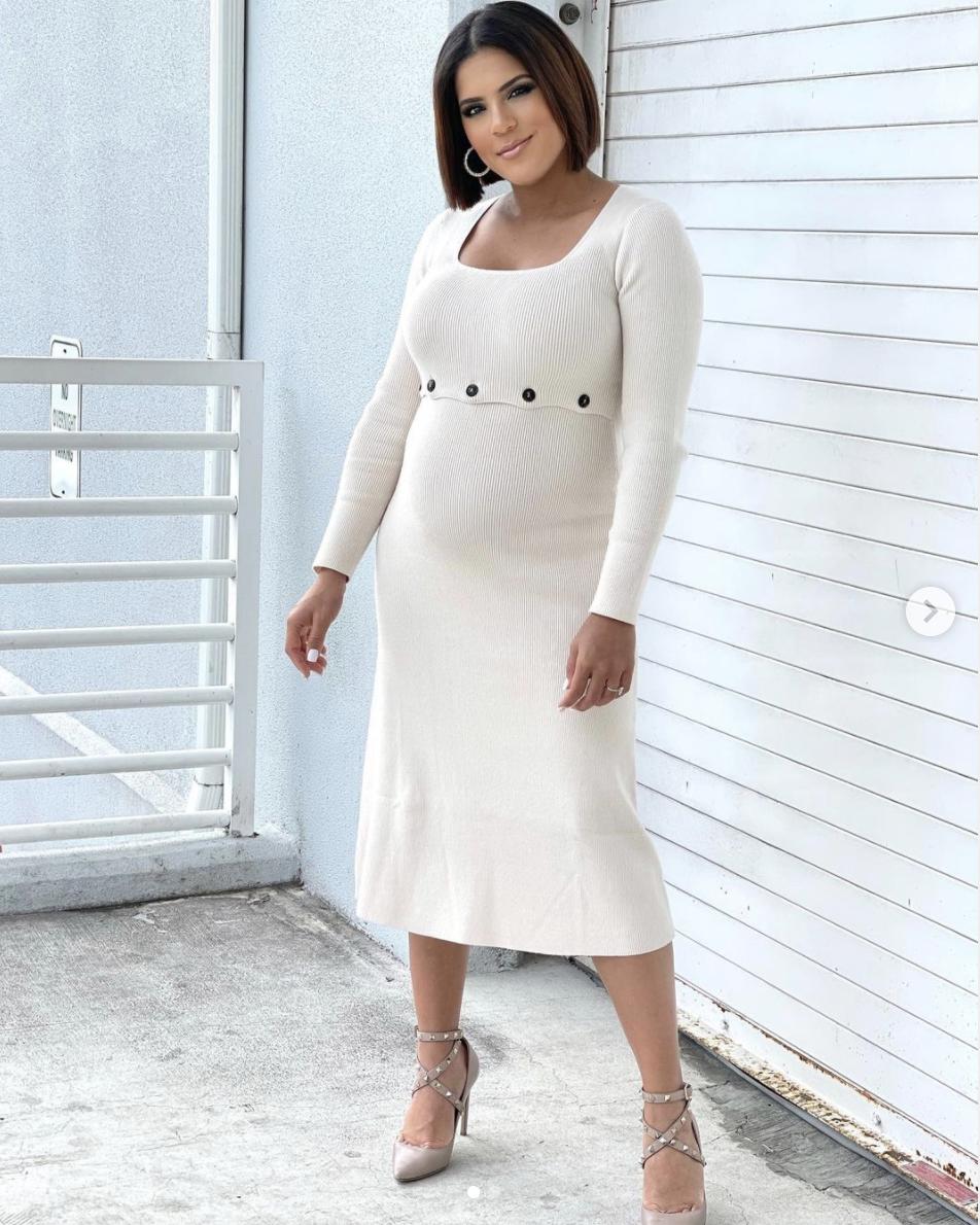 francisca lachapel embarazada vestido blanco