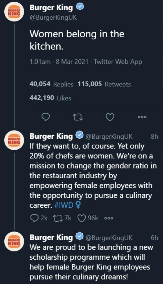 Tuit de Burger King Reino Unido