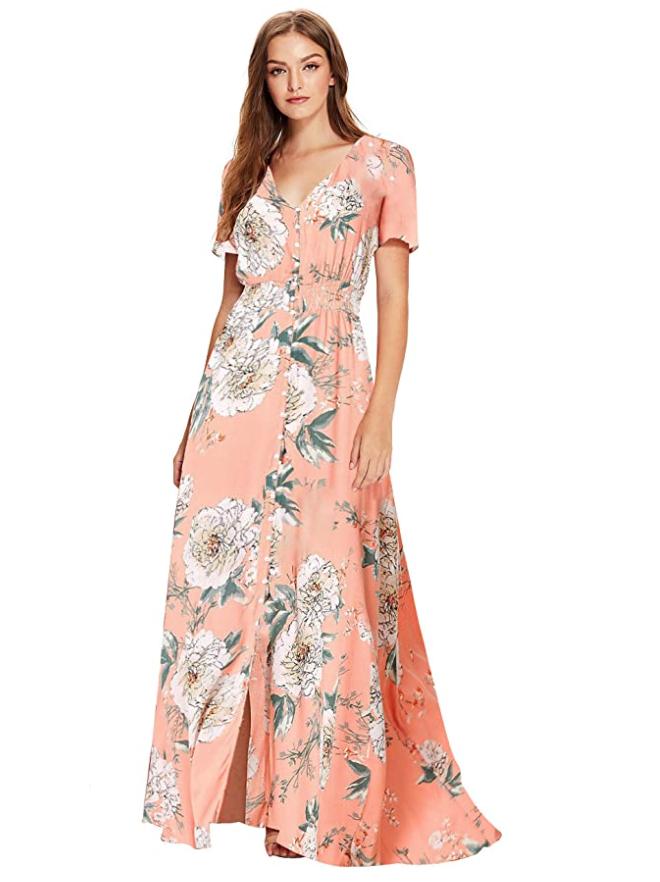 Vestido estampado, vestido maxi. primavera, amazon