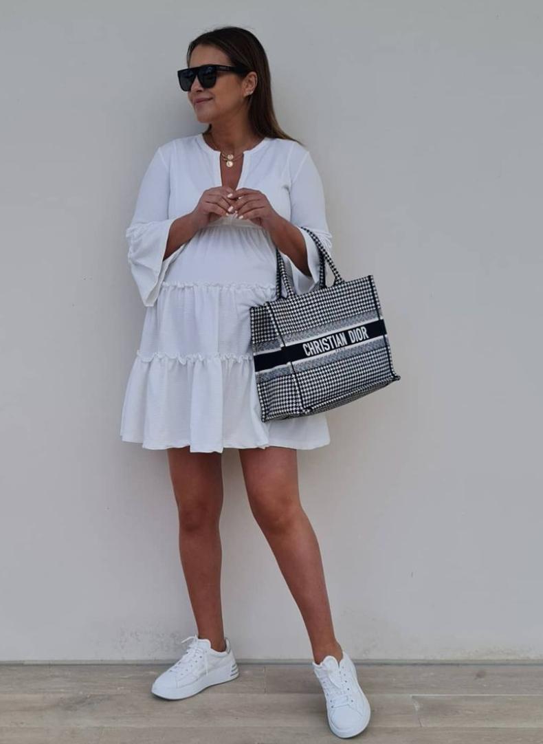 Paula Echevarria, look de embarazo, look del dia, madrid, vestido blanco