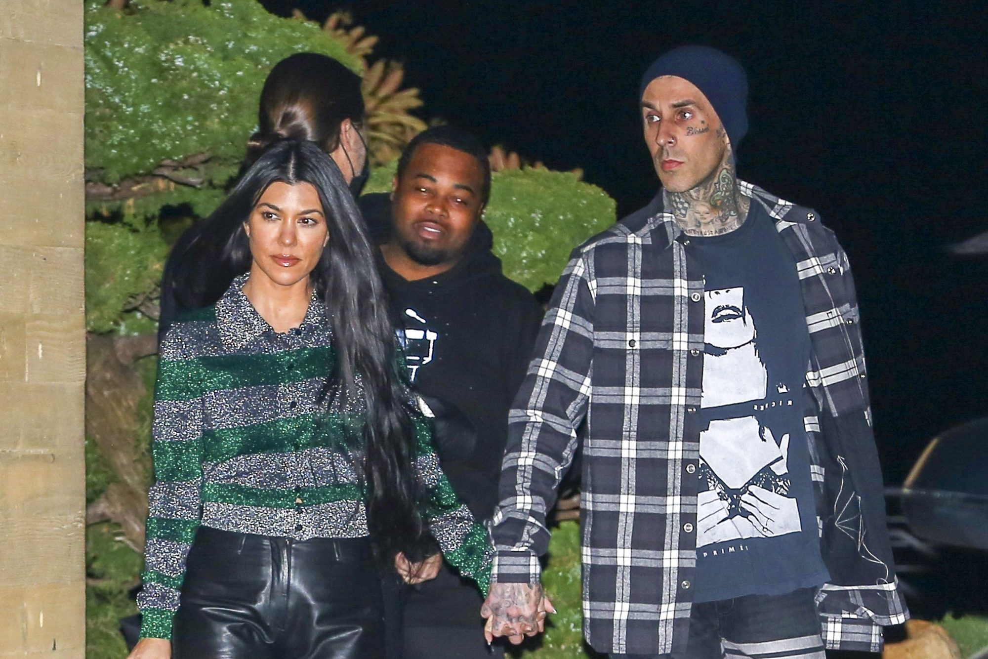 Kourtney Kardashian & Travis Barker Walk Hand in Hand after Romantic Dinner at Nobu