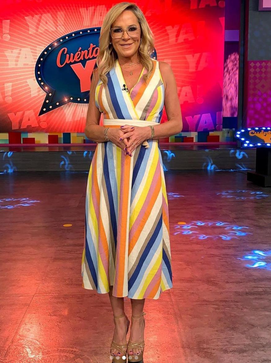 Roxana Castellanos, look del dia, vestido a rayas