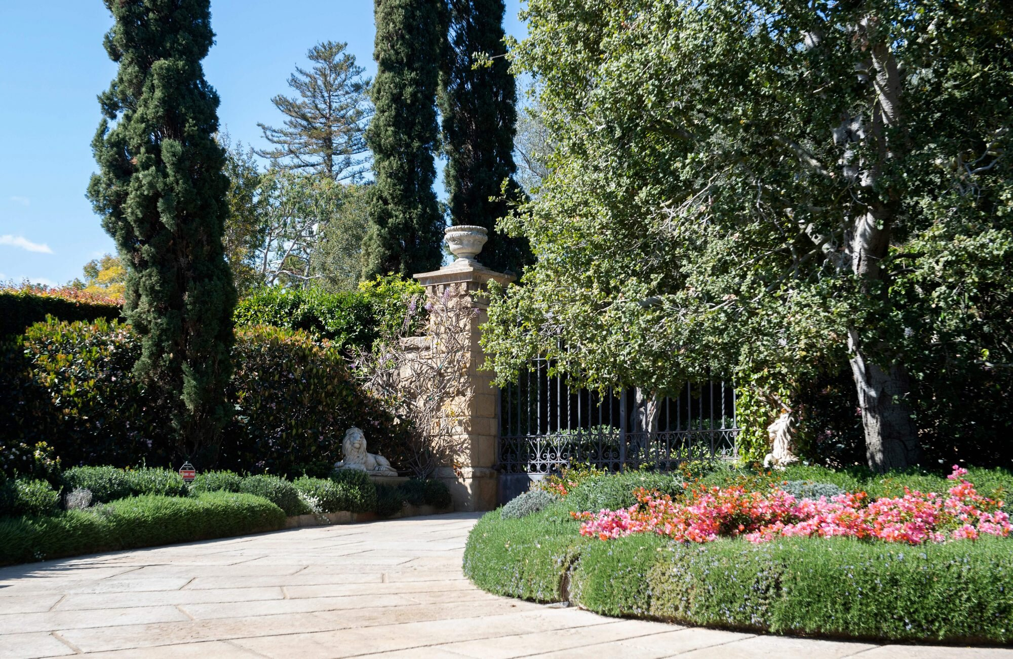 View of the gate of the Estate where Prince Harry and Meghan Markle have their house, in Montecito, California on March 6, 2021