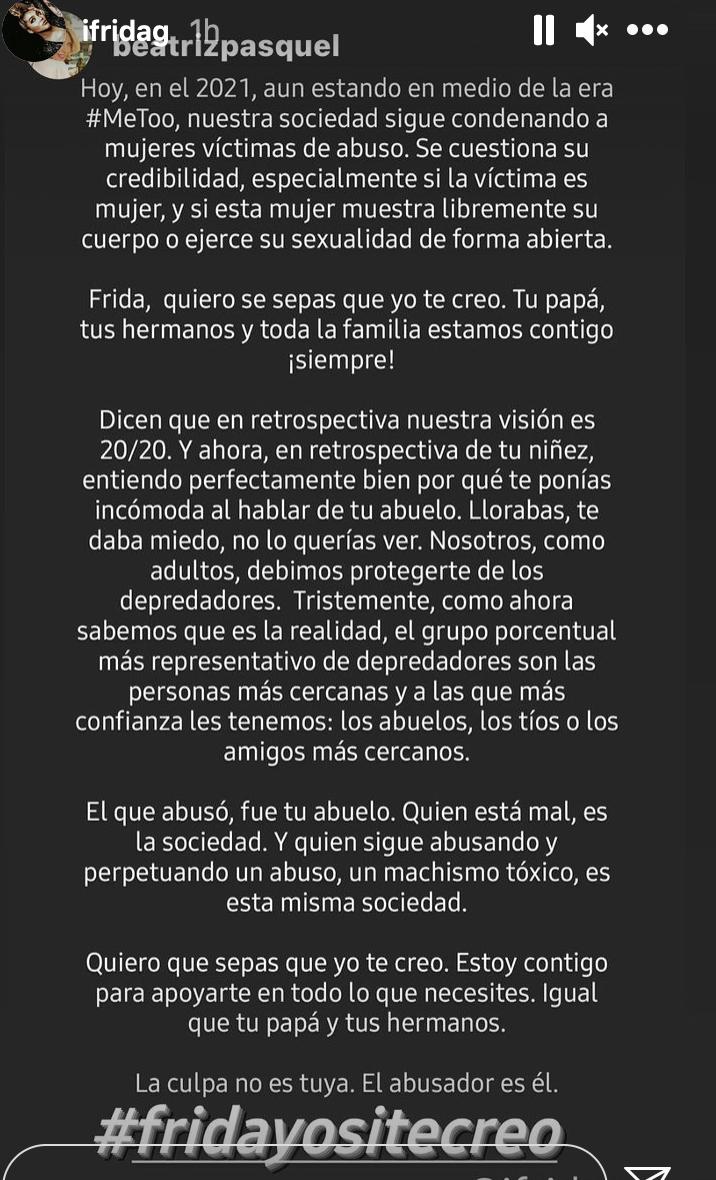 Frida Sofia, escandalo, apoyo de su madrastra Beatriz pasquel