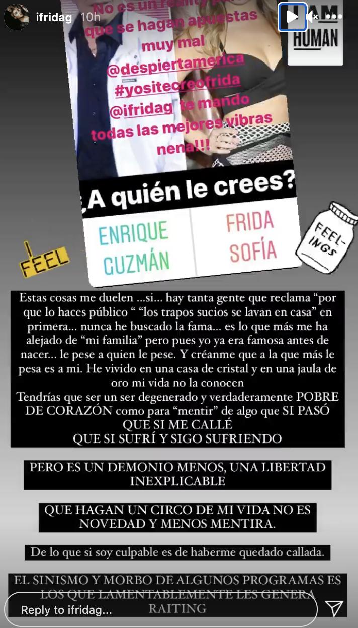 Mensaje de Frida Sofía