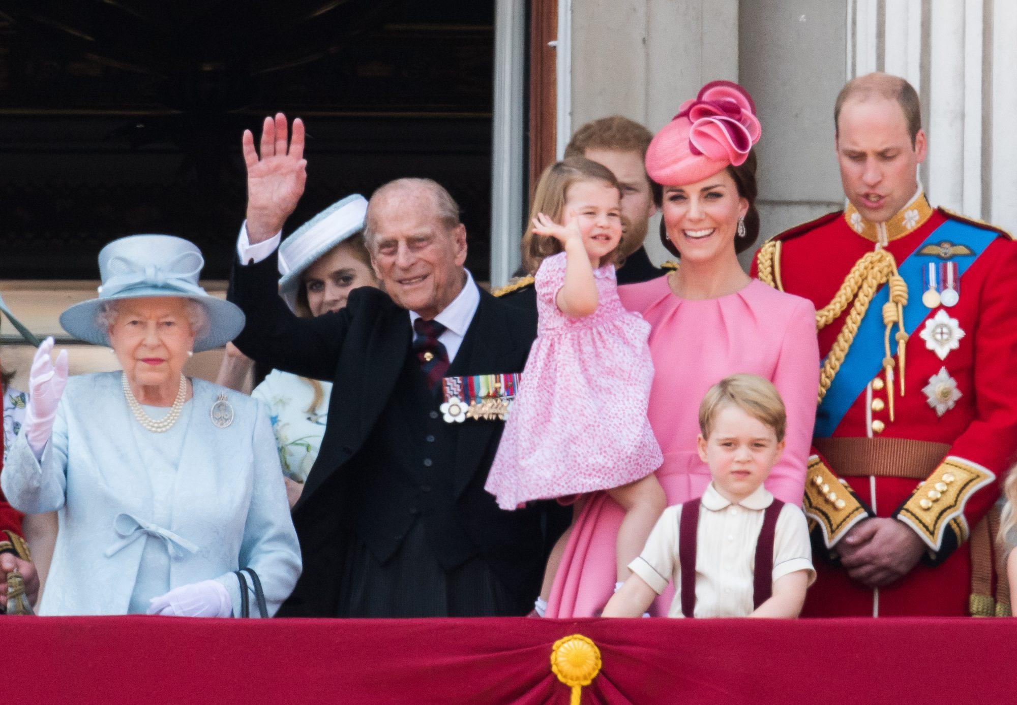 Queen Elizabeth II, Prince Philip, Prince George, Prince William, Princess Charlotte, Kate Middleton