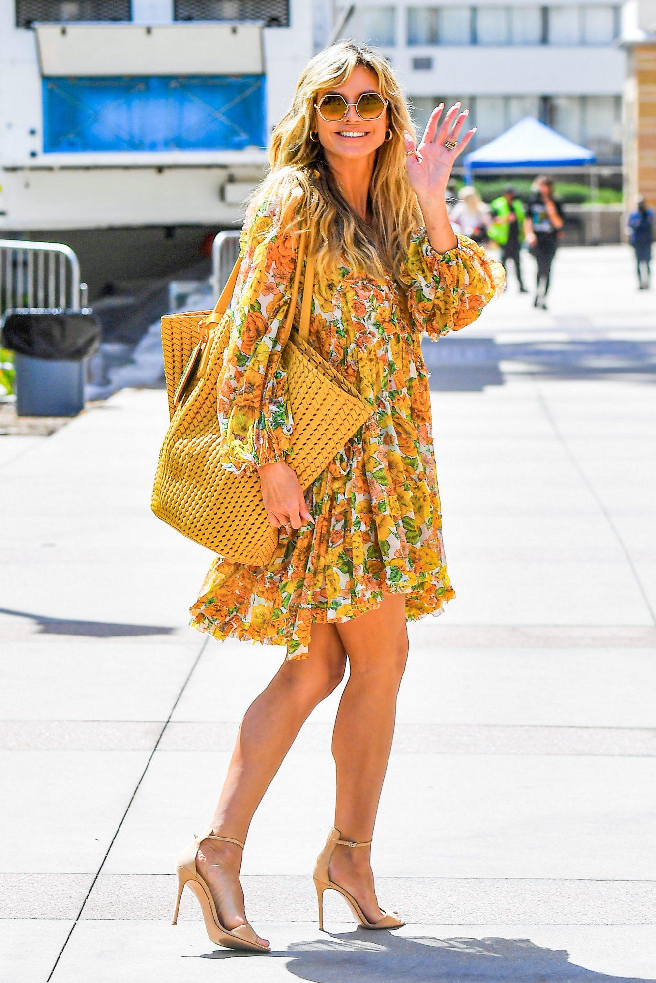 Heidi Klum, look del dia, vestido estampado, los angeles