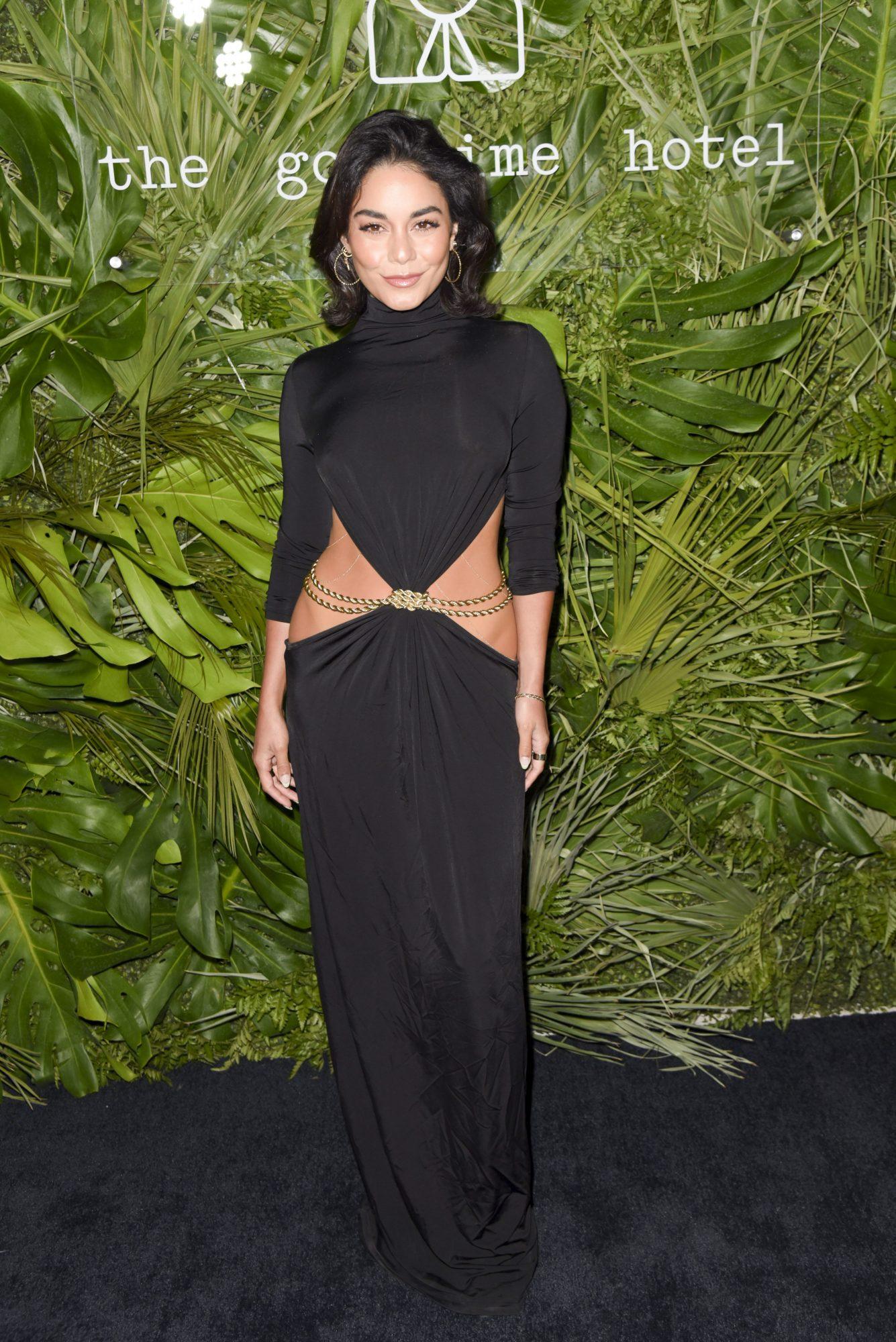 Vanessa Hudgens, look del dia, vestido negro, Miami