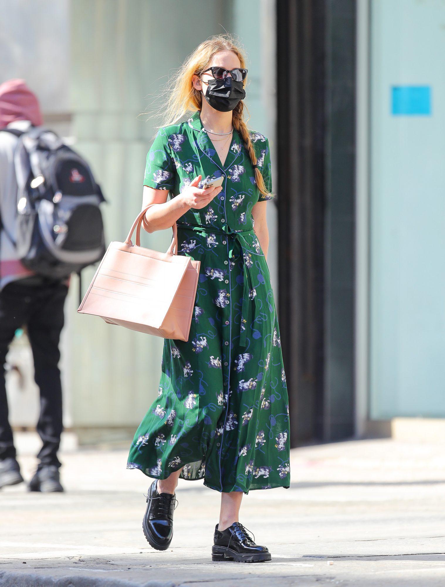Jennifer Lawrence, look del dia, vestido verde
