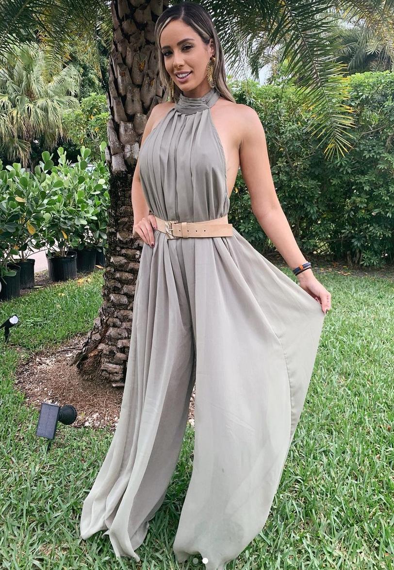 Aleyda Ortiz, look del dia, jumpsuit crema, miami