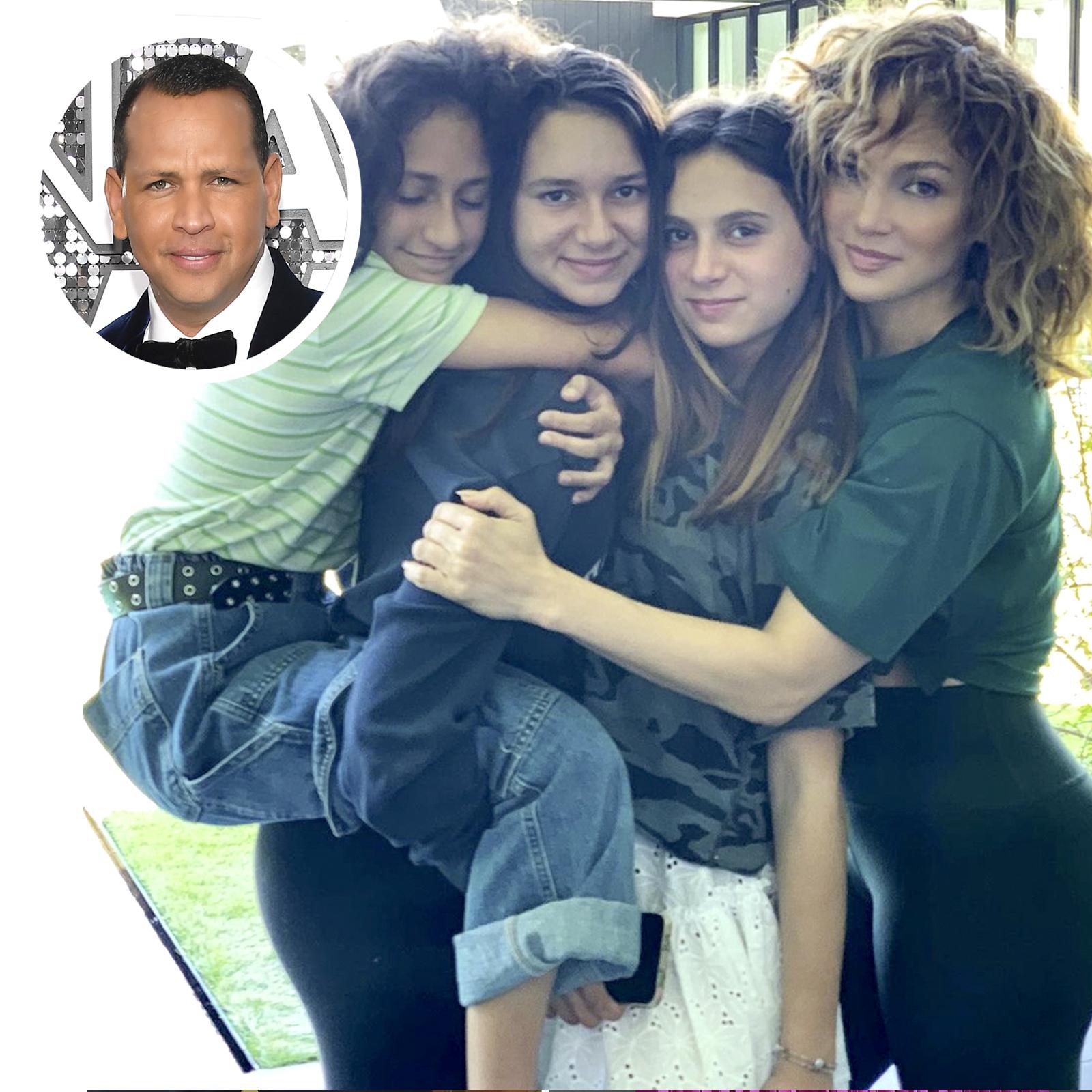 Jennifer Lopez y su hija Emme y Alex Rodriguez y sus hijas Natasha y Ella