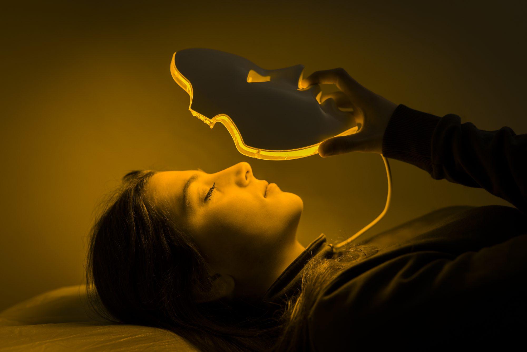 terapia de luz LED, piel, máscara
