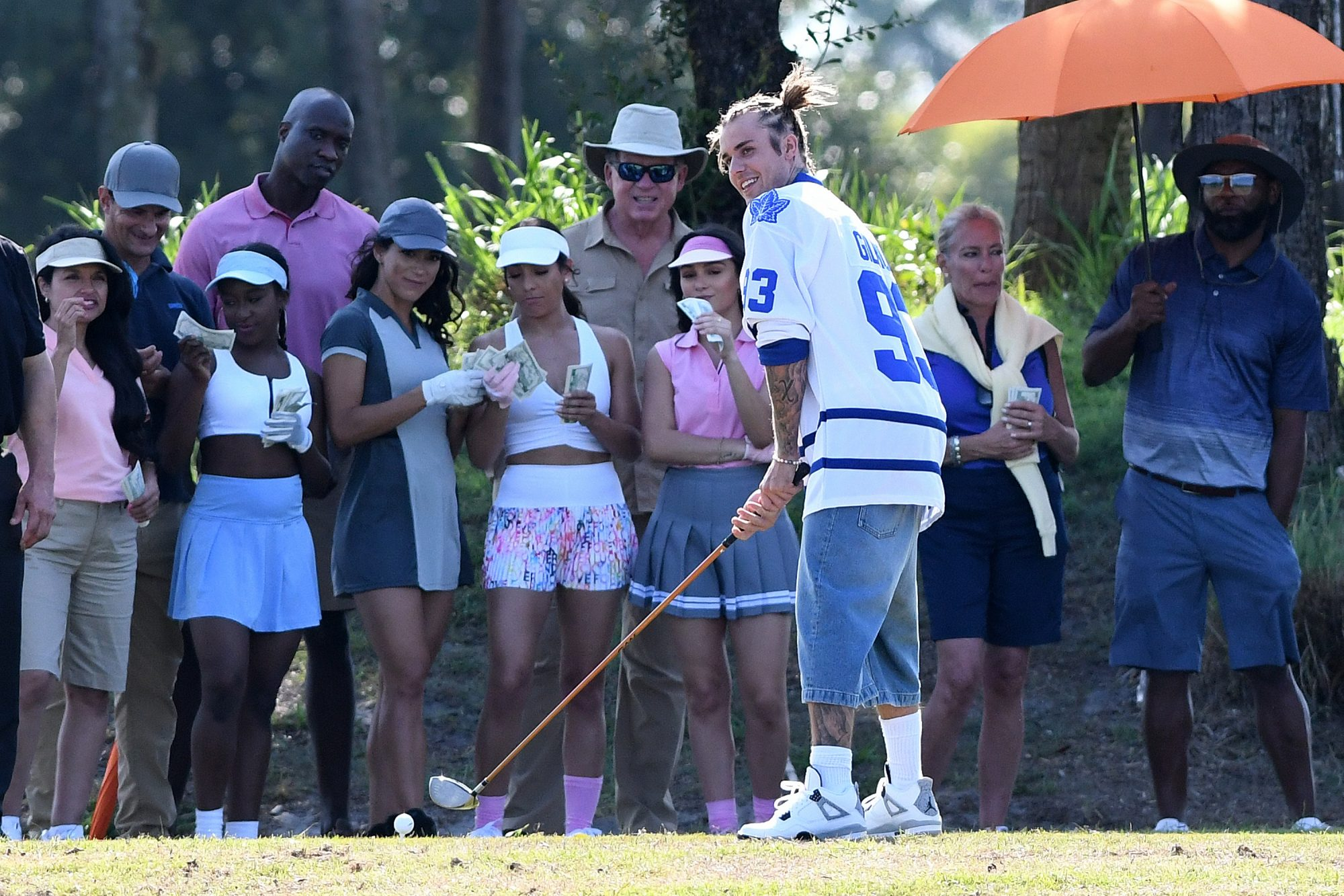 Justin Bieber Plays Golf on the Set of a Music Video in Miami