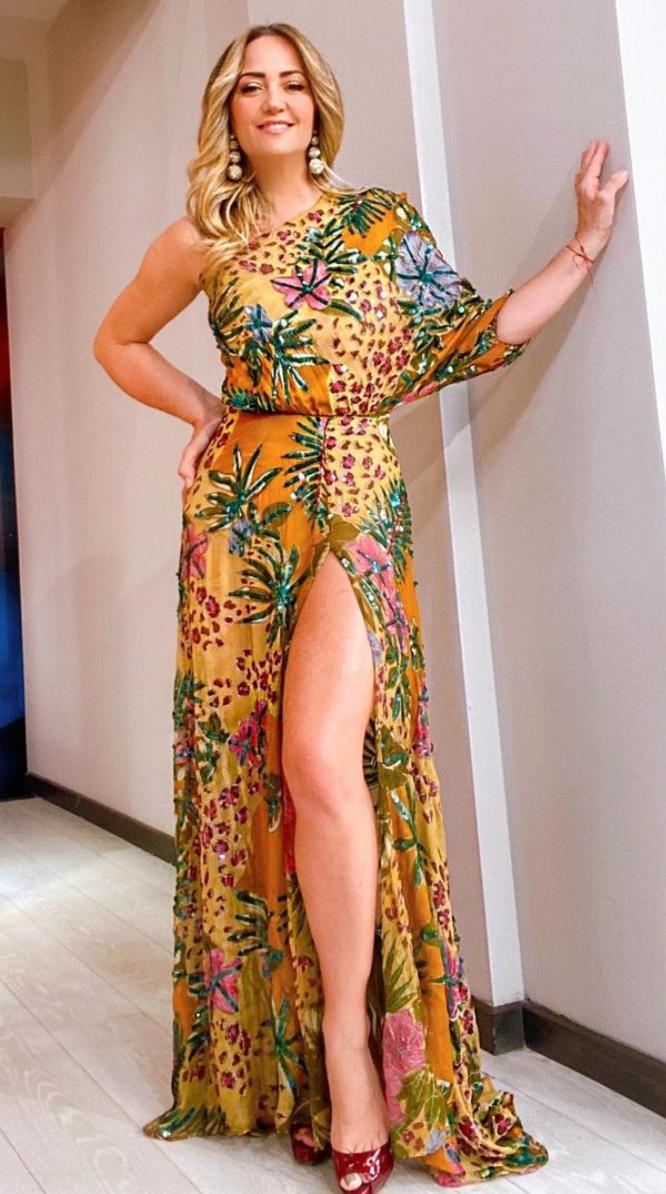 Andrea legarreta, vestido maxi, programa Hoy