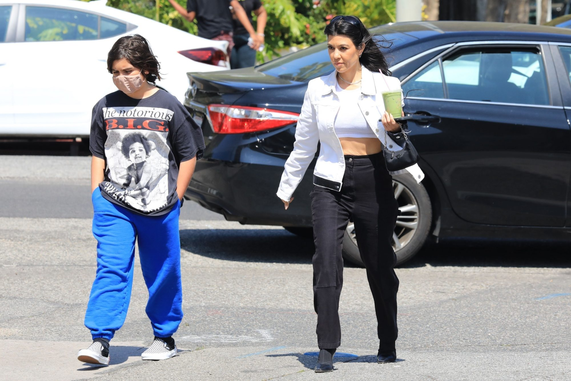 Kourtney Kardashian Goes Out for Juice Drinks with her Son Mason
