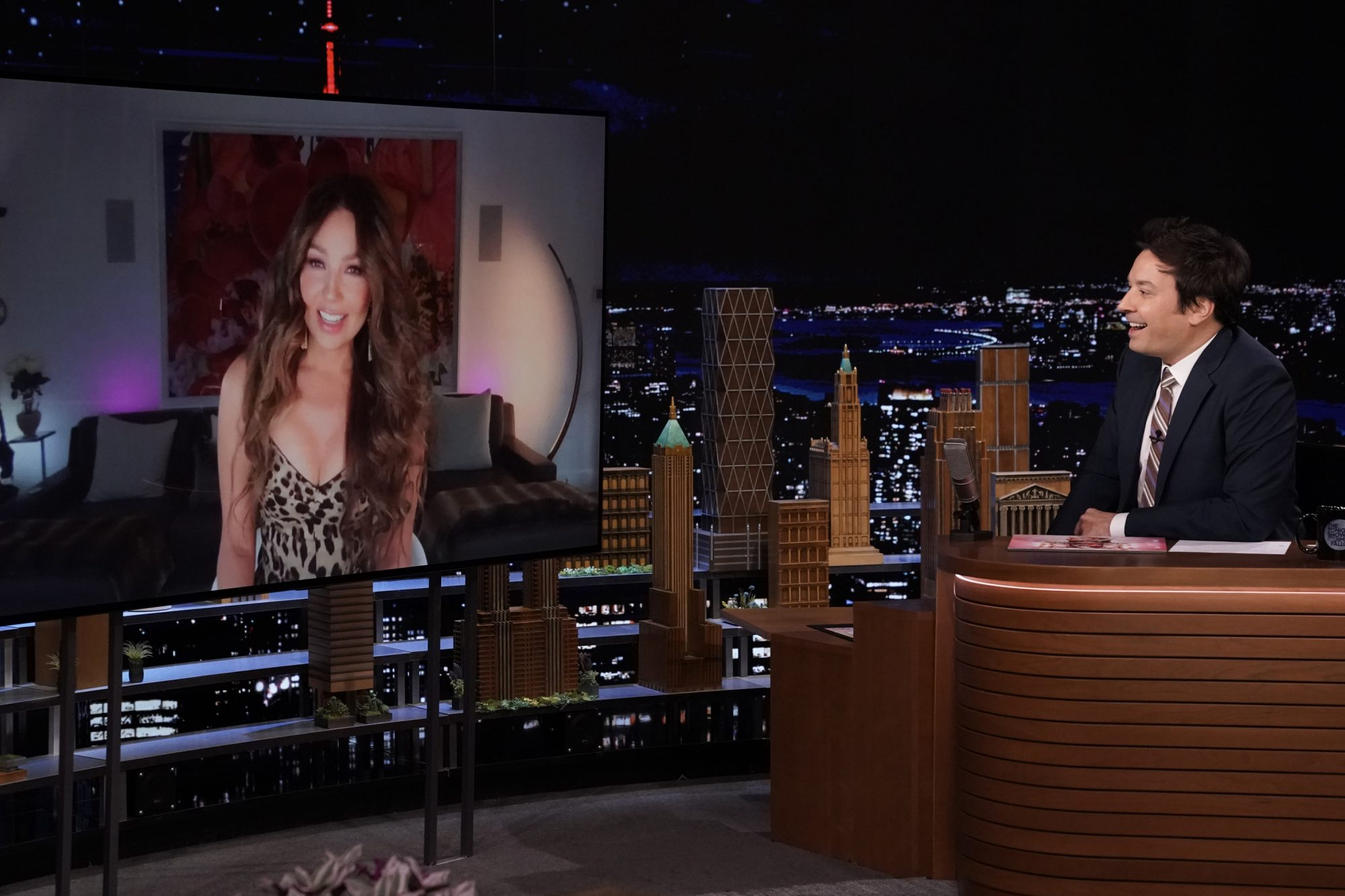 Singer Thalía during an interview with host Jimmy Fallon