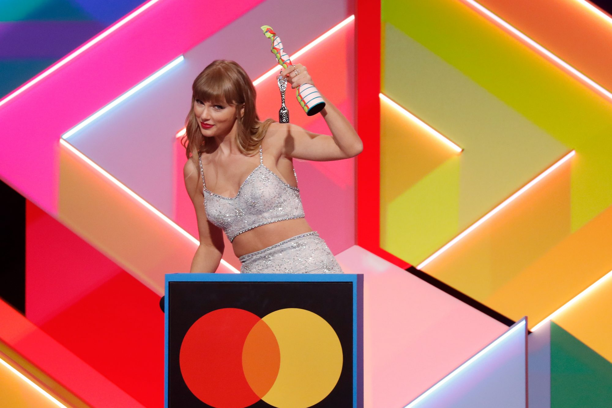 Taylor Swift wins the Global icon Award during The BRIT Awards 2021