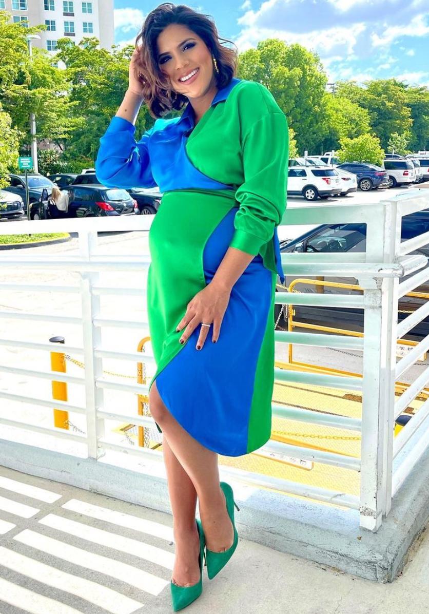 Francisca Lachapel, Francisca, look del, dia, vestido azul y verde, despierta america