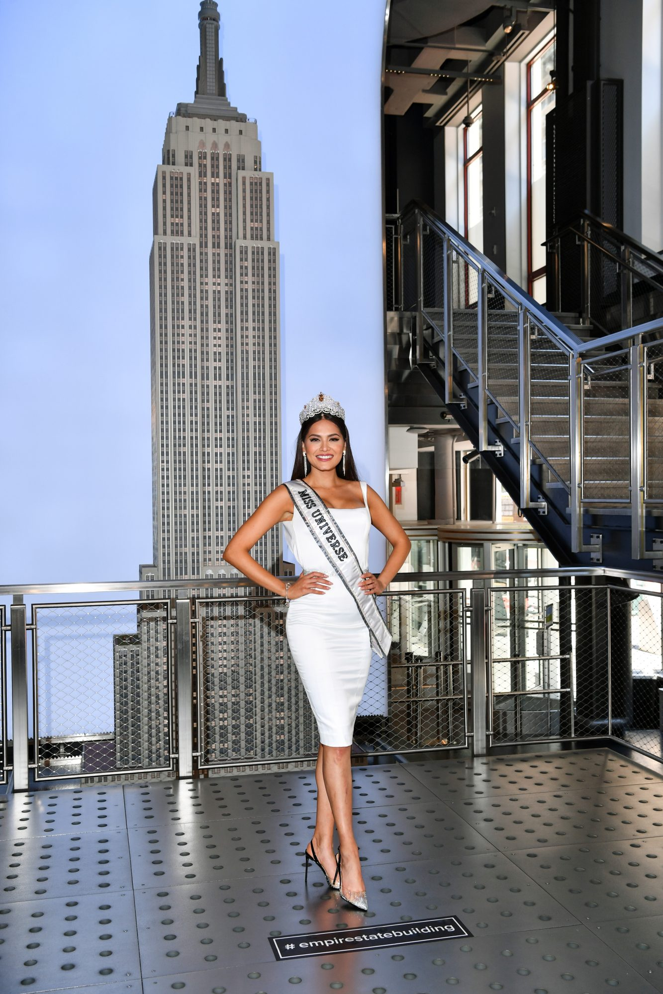 Miss Universe Andrea Meza, visits The Empire State Building in New York