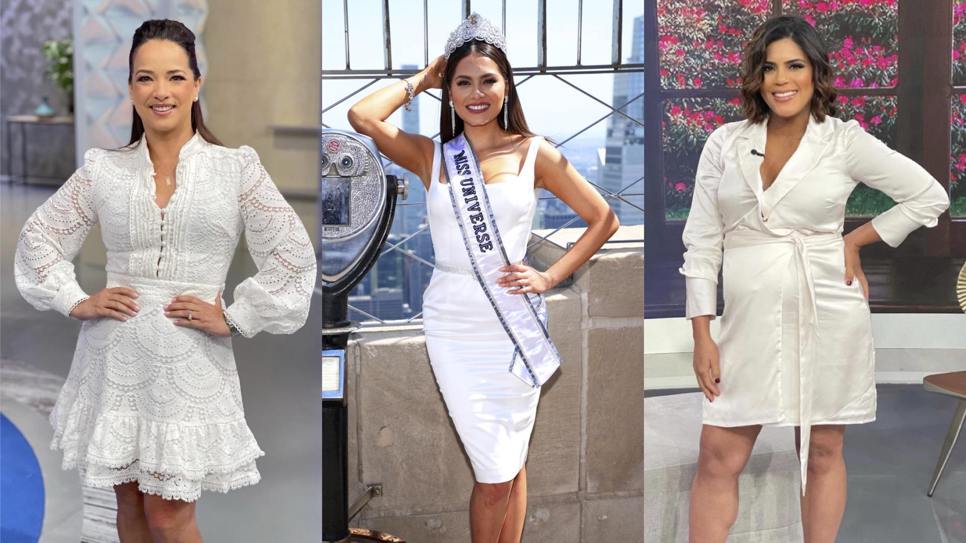 Tendencias vestidos blancos, Adamari Lopez, Miss Universo Andrea Mesa, Francisca Lachapel